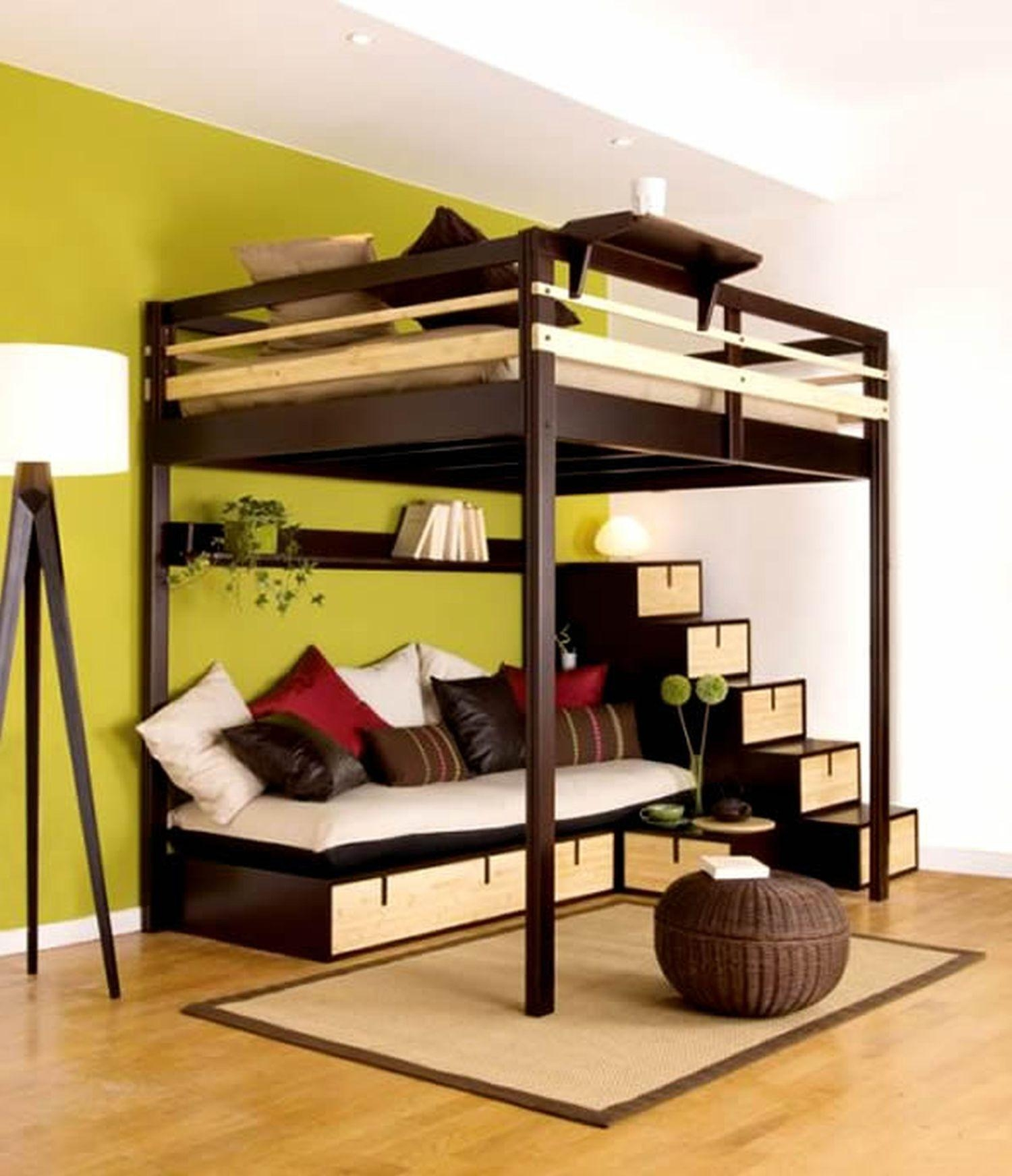 20 photos bunk bed with sofas underneath sofa ideas for Modern bunk bed with desk