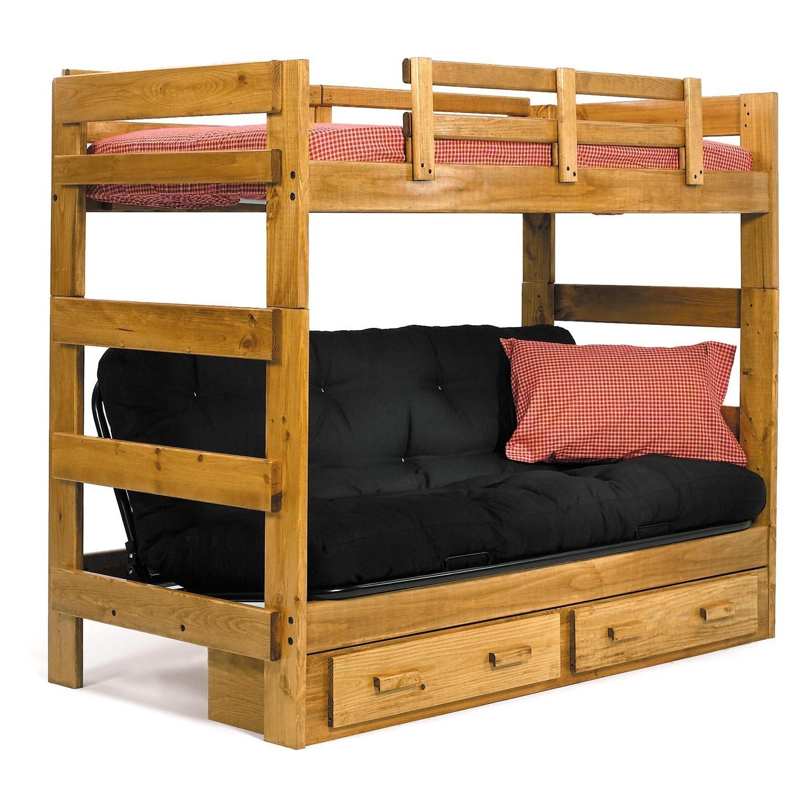 Bedroom: Endearing Secret Loft Bed With Futon For Bedroom Intended For Bunk Bed With Sofas Underneath (Image 6 of 20)