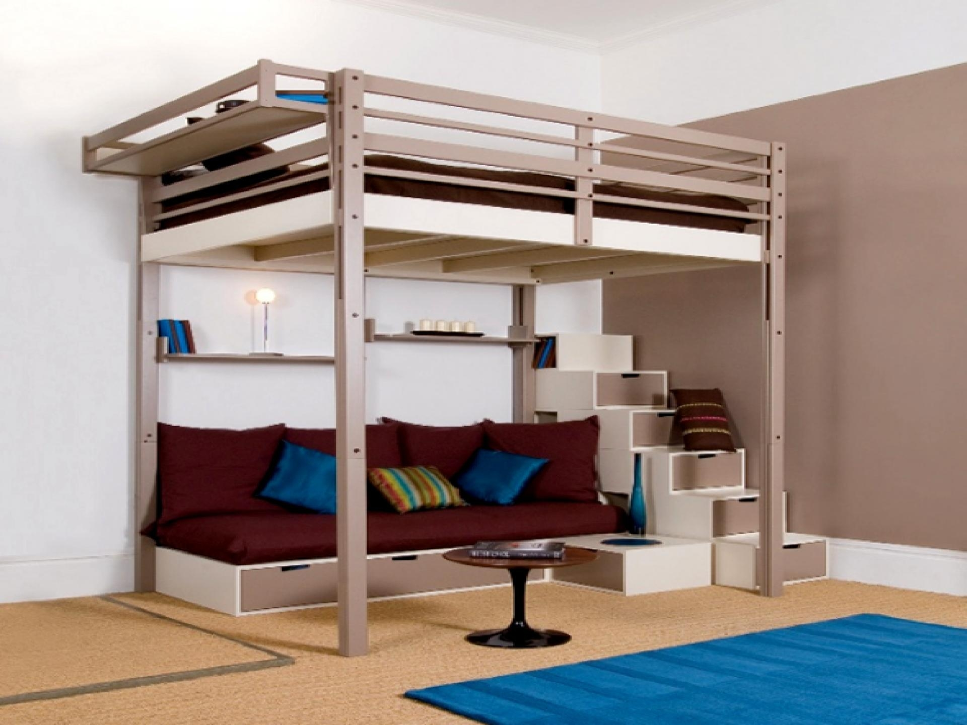 Bedroom: Loft Bed For Teens Features Cream Maple Wood Loft Bunk For Bunk Bed With Sofas Underneath (Image 7 of 20)