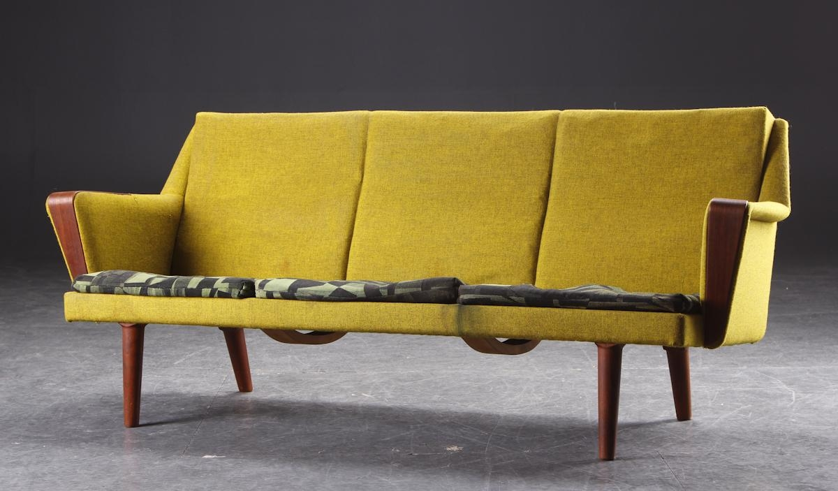 Before + After - Danish Modern Chartreuse Sofa • Mid Century Mobler in Chartreuse Sofas