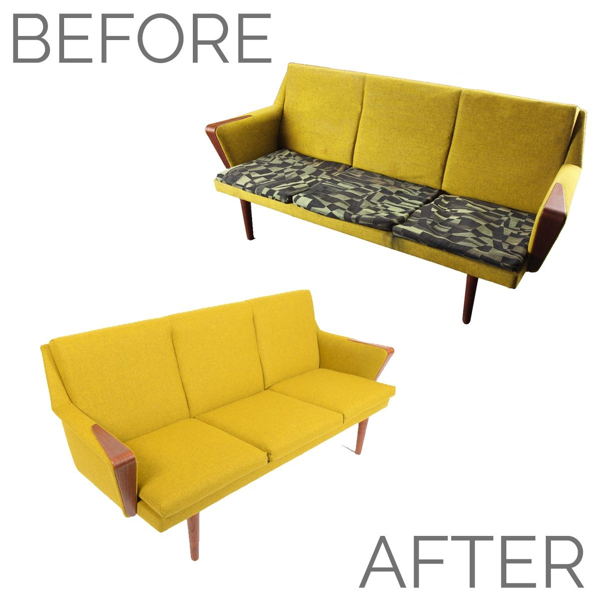Before + After – Danish Modern Chartreuse Sofa • Mid Century Mobler With Regard To Chartreuse Sofas (Image 3 of 20)