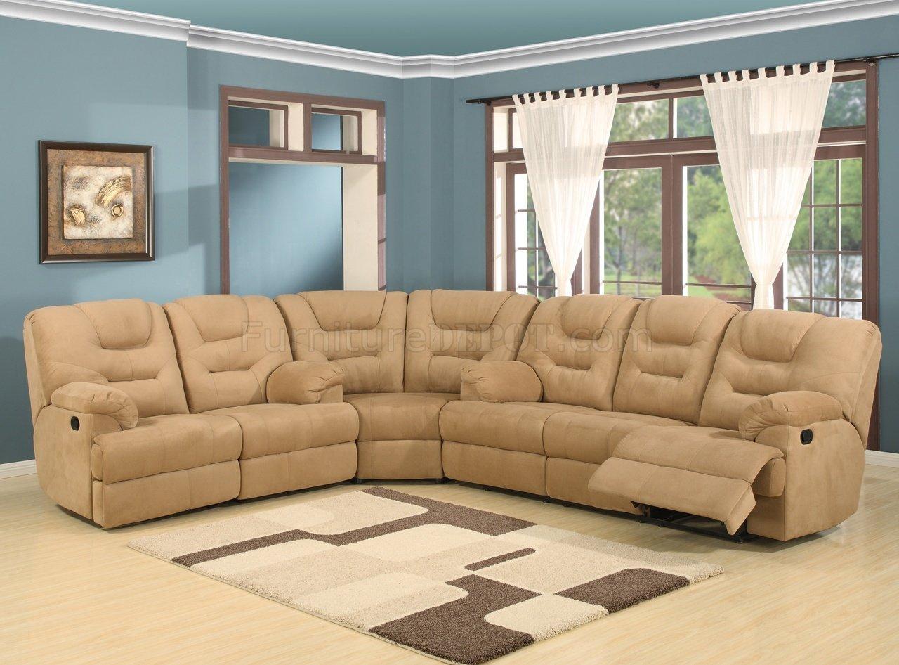 Beige Easy Rider Plush Fabric Modern Reclining Sectional Sofa Throughout Modern Reclining Sectional (Image 2 of 20)