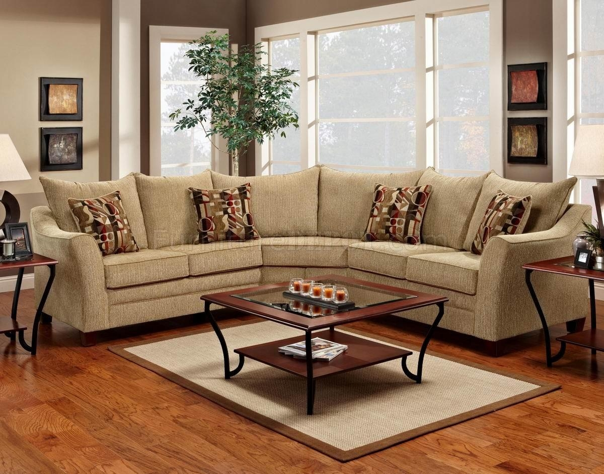 Beige Fabric Elegant Modern Sectional Sofa Intended For Elegant Sectional Sofa (Image 1 of 15)