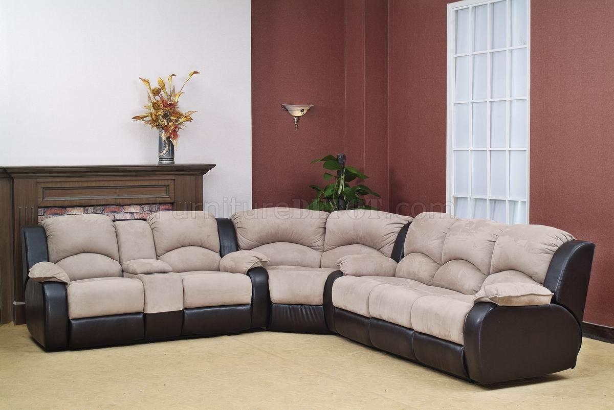 Beige Fabric Modern Reclining Sectional Sofa W/optional Chair In Modern Reclining Sectional (Image 3 of 20)