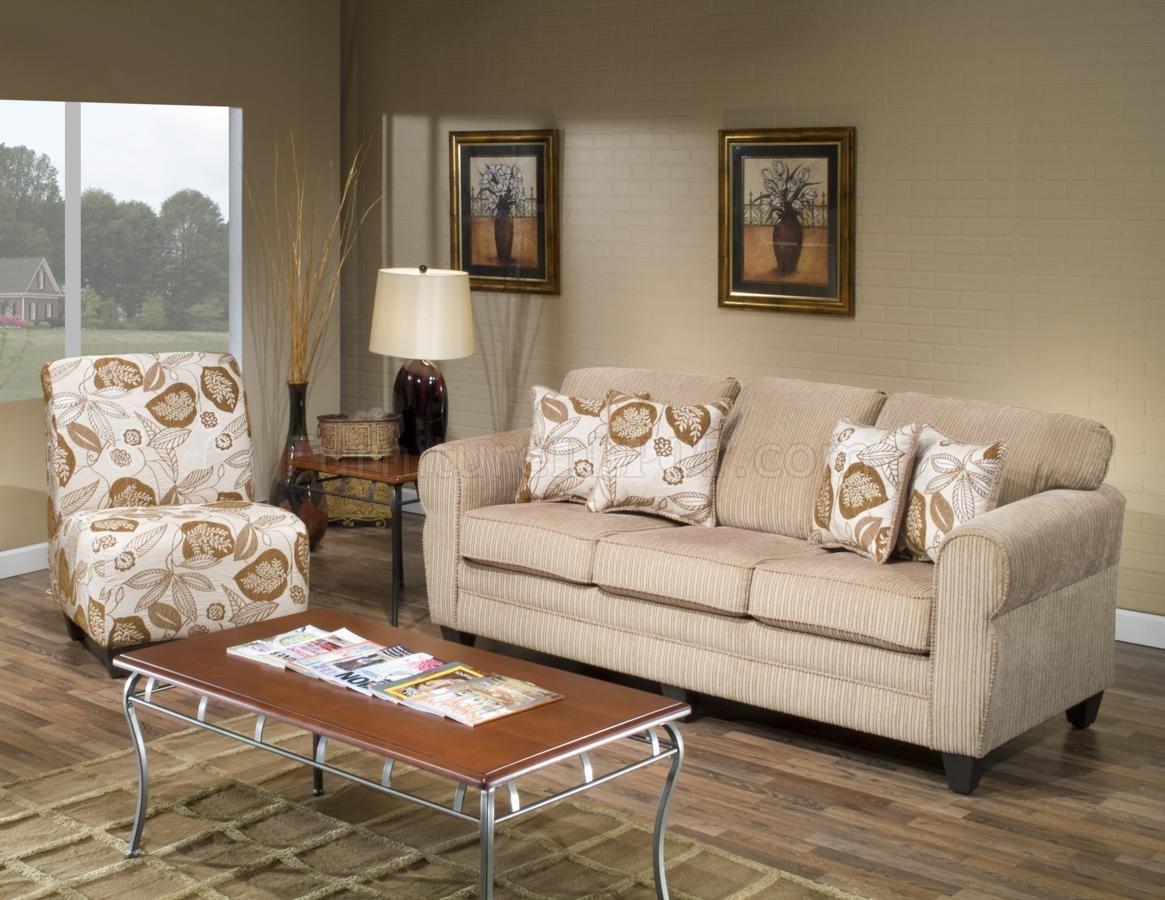 Beige Fabric Modern Sofa And Accent Chair Set W/options Pertaining To Sofa And Chair Set (Image 2 of 20)