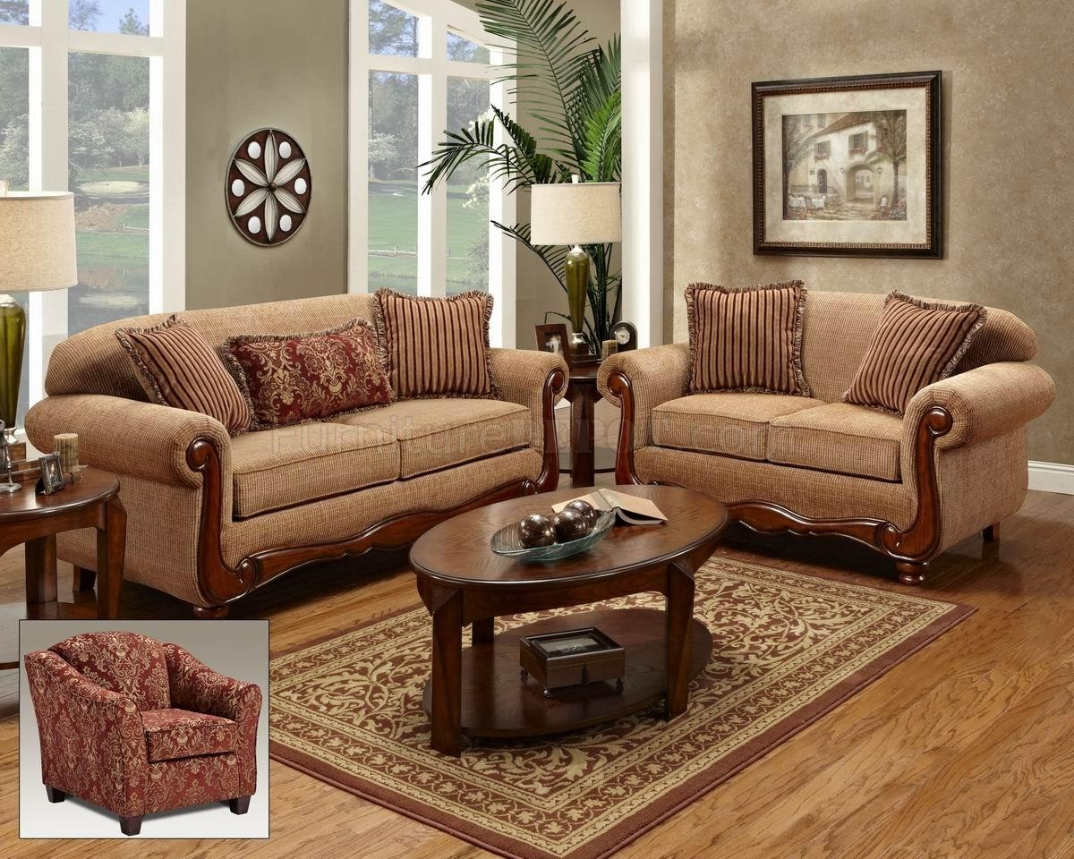 Beige Fabric Traditional Loveseat & Sofa Set W/options For Traditional Fabric Sofas (View 20 of 20)