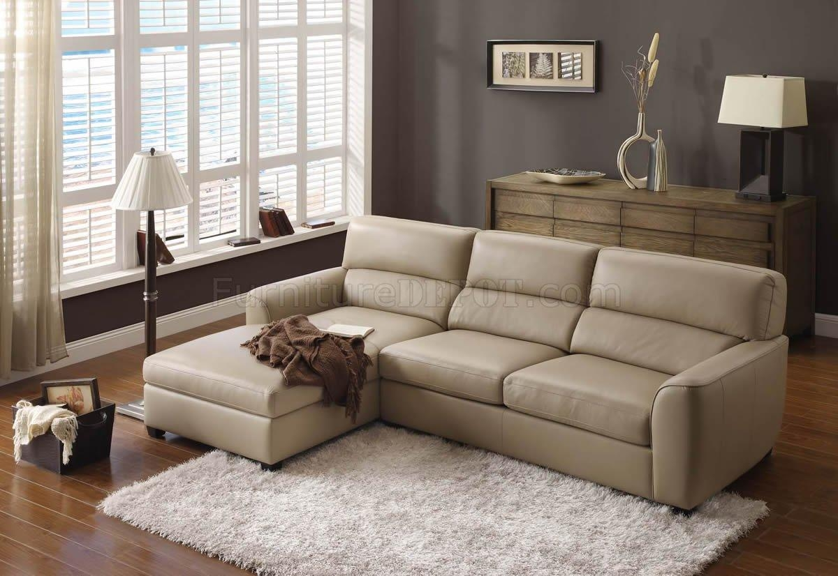 Beige Leather Elegant Modern Sectional Sofa In Elegant Sectional Sofa (Image 2 of 15)