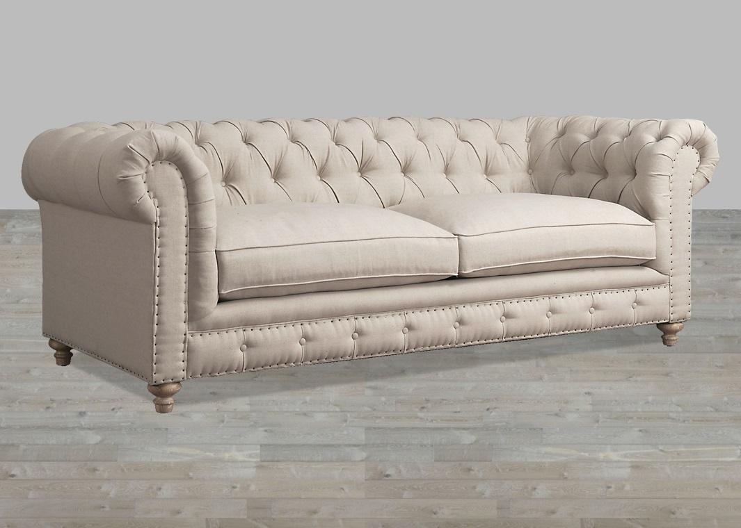 Beige Linen Button Tufted Sofa For Tufted Linen Sofas (Image 2 of 20)