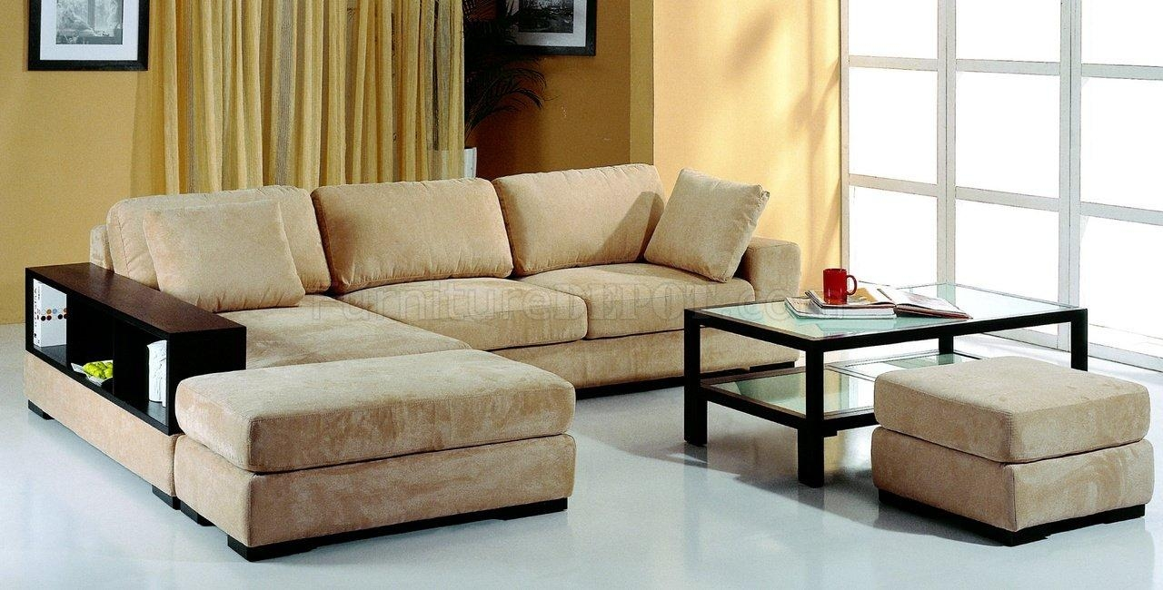Beige Microfiber Sectional Sofa W/2 Ottomans & Bookcase For Microfiber Sectional Sofas (Image 2 of 20)
