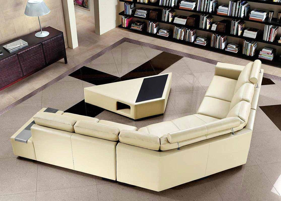 Beige Sectional Sofa With Coffee Table | Leather Sectionals Pertaining To Coffee Table For Sectional Sofa (Image 2 of 15)