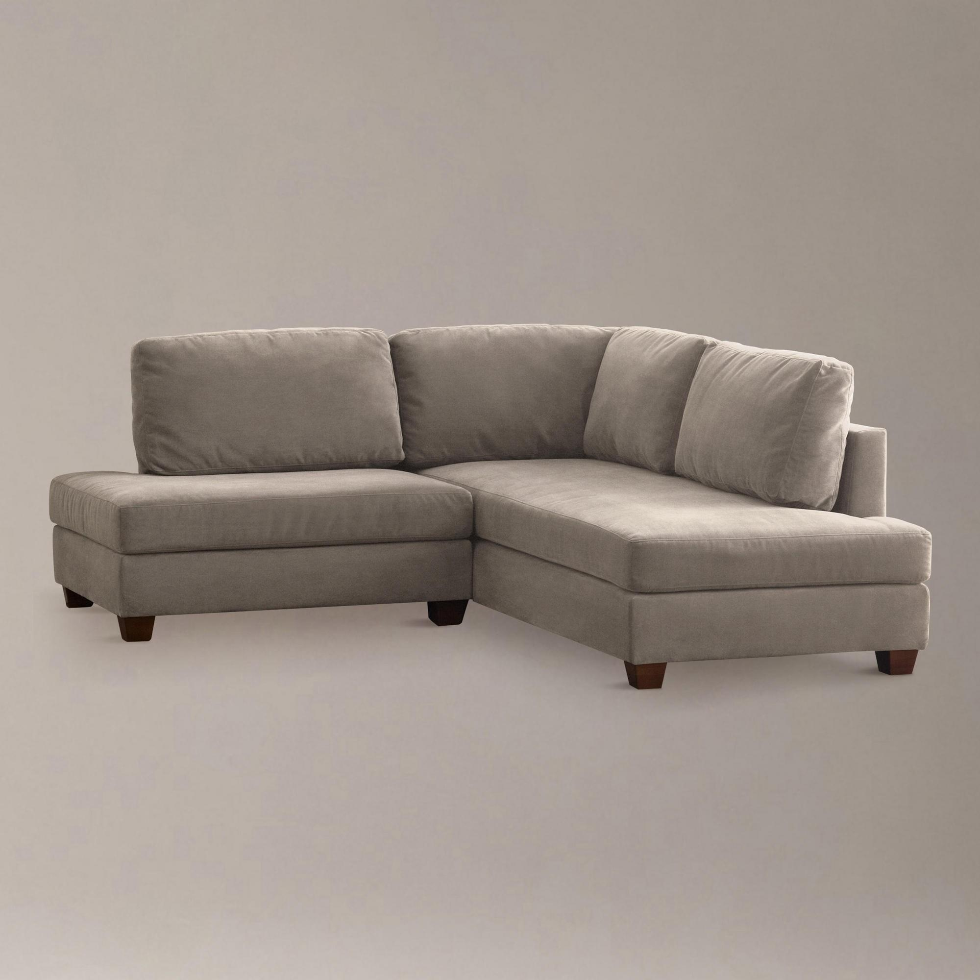 Beige Short Sectional Sofa Without Armrest For Small Living Room For Short Sectional Sofas (Image 2 of 20)