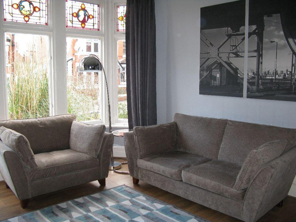 Beige/grey M&s Marks & Spencer 'barletta' 3 Seater Sofa & Snuggle Throughout Marks And Spencer Sofas And Chairs (View 8 of 20)