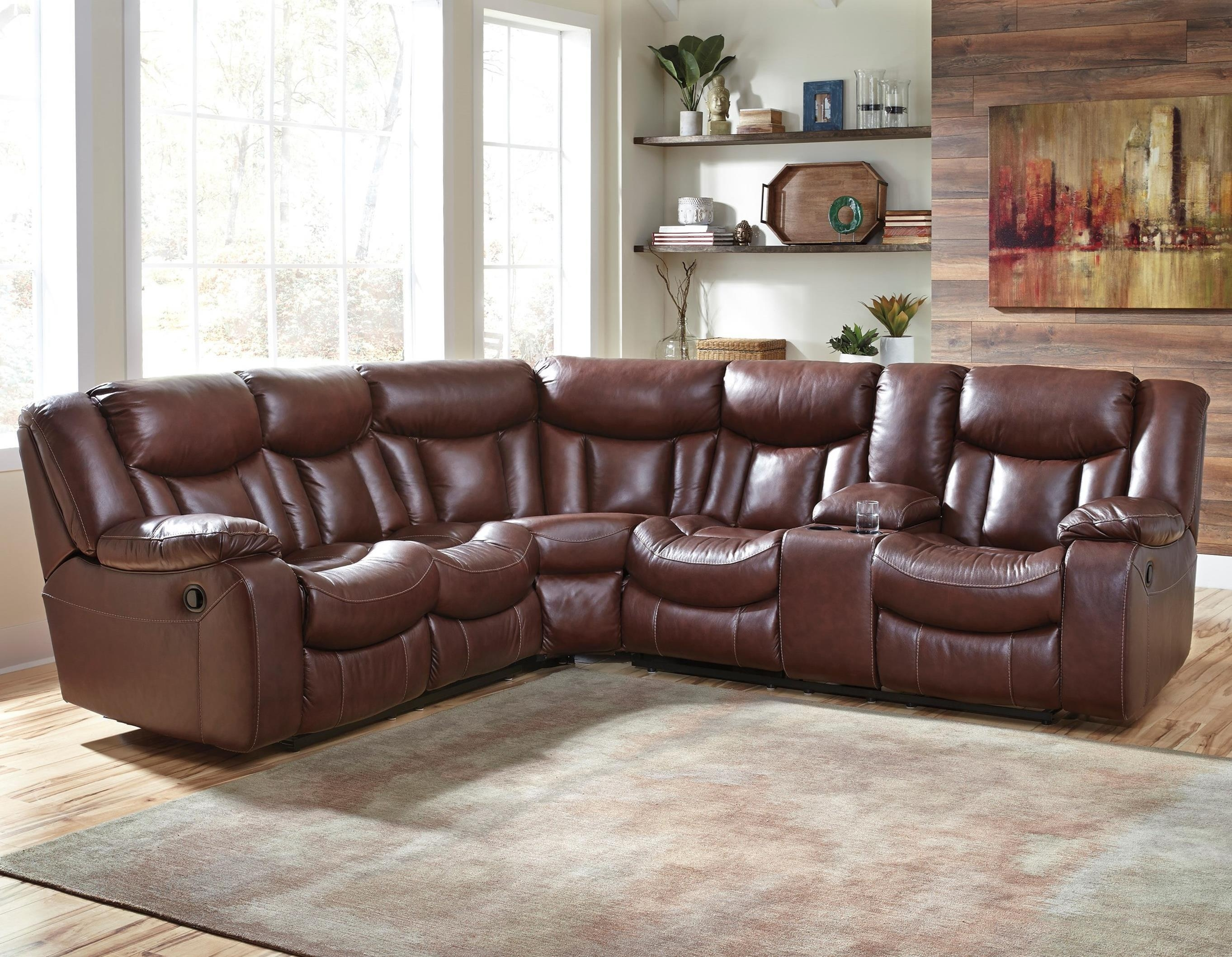Benchcraft Amaroo Brown Leather Match 2 Piece Reclining Sectional Inside Benchcraft Leather Sofas (Image 2 of 20)