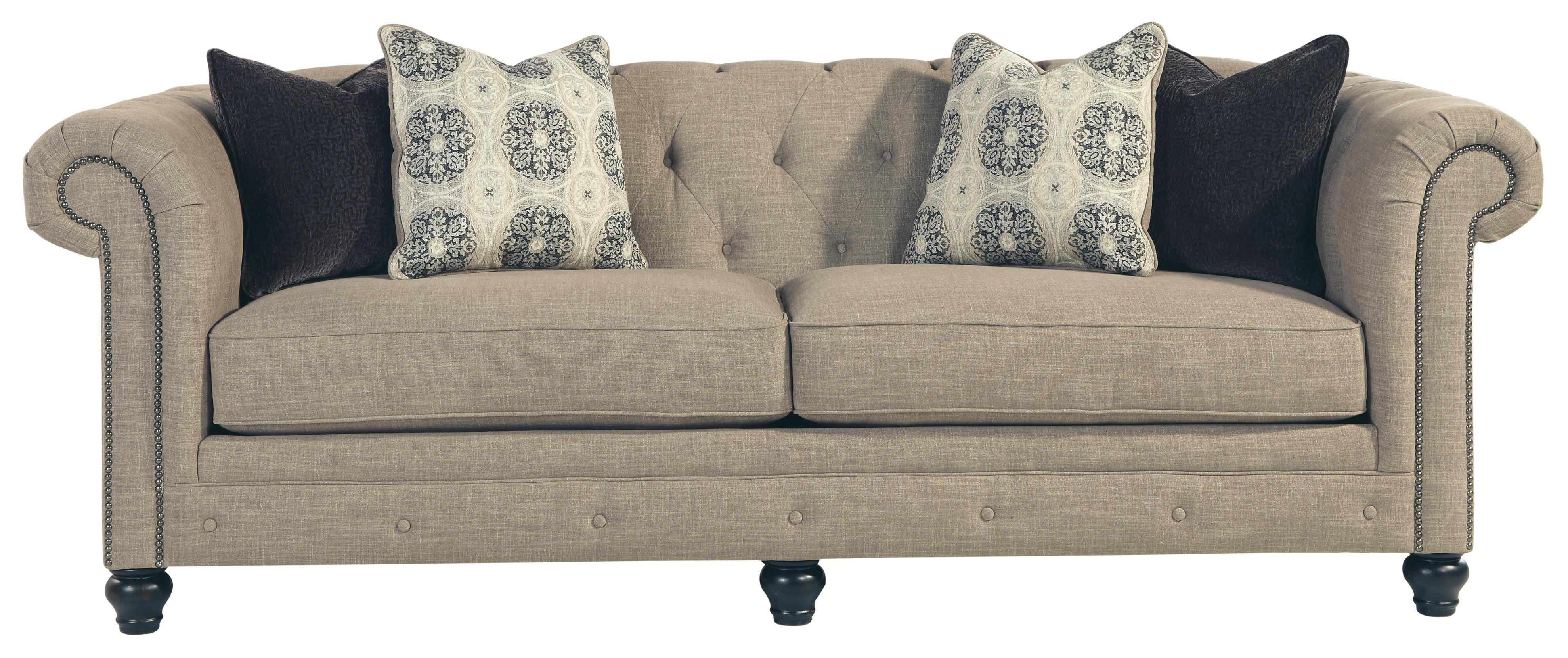 Benchcraft Azlyn Transitional Chesterfield Sofa With Linen Blend Pertaining To Ashley Tufted Sofa (Image 4 of 20)