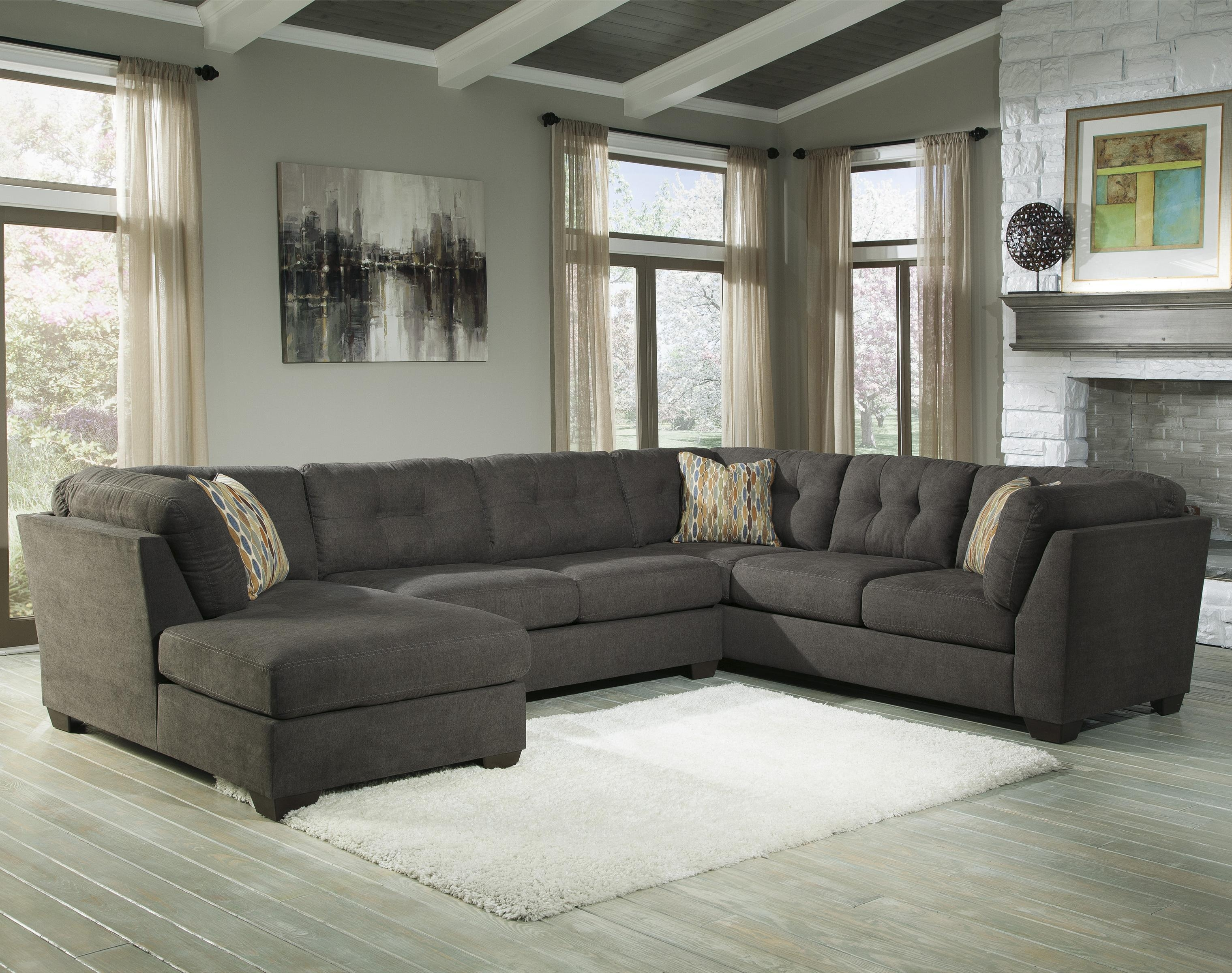 Benchcraft Delta City – Steel 3 Piece Modular Sectional W/ Armless Throughout Ashley Sectional Sleeper (Image 1 of 15)