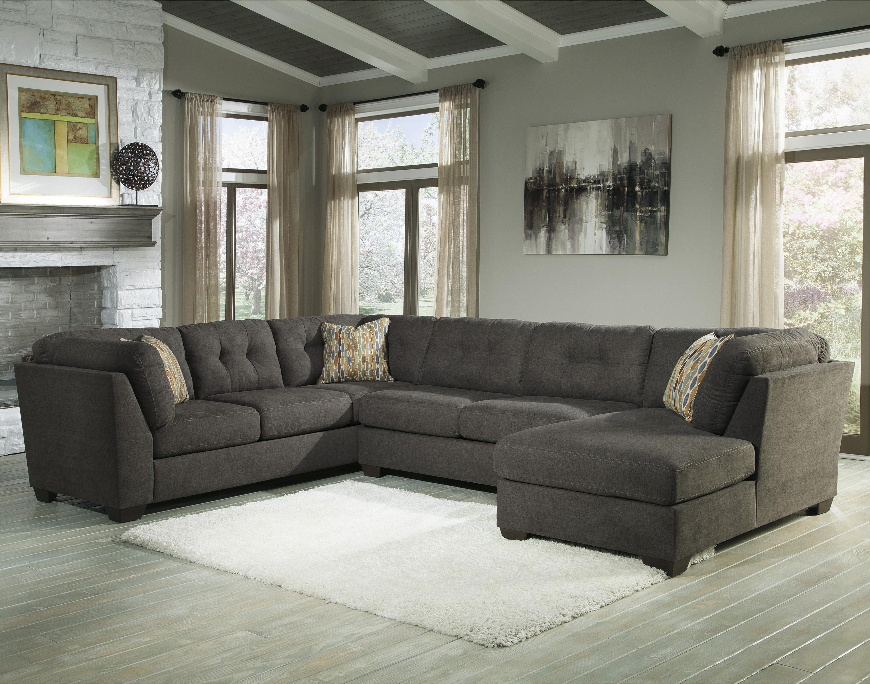 Benchcraft Delta City – Steel 3 Piece Modular Sectional With Right Throughout Ashley Curved Sectional (Image 3 of 15)