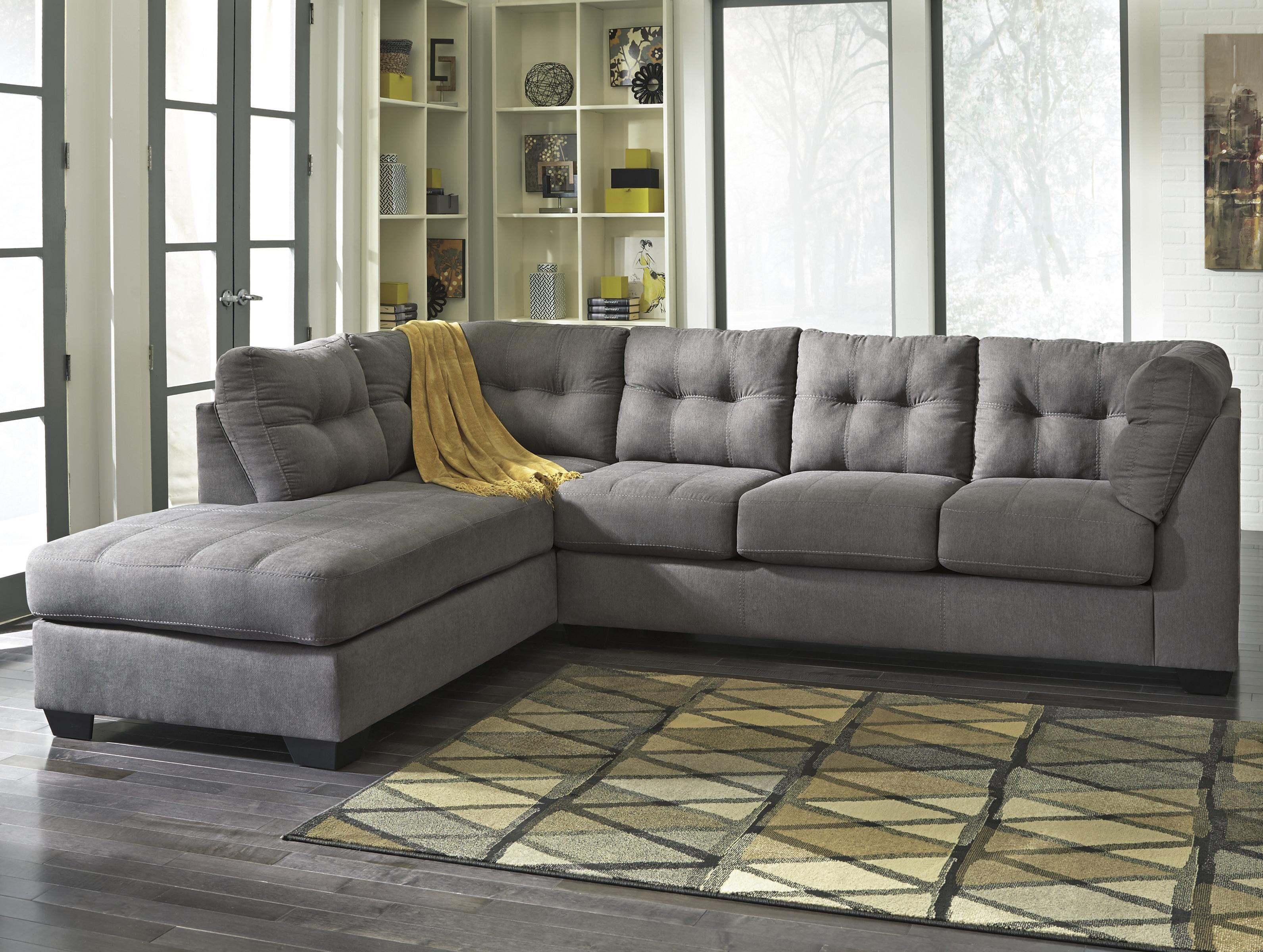 Benchcraft Maier – Charcoal 2 Piece Sectional With Left Chaise With Sectional Sofa With 2 Chaises (View 4 of 20)