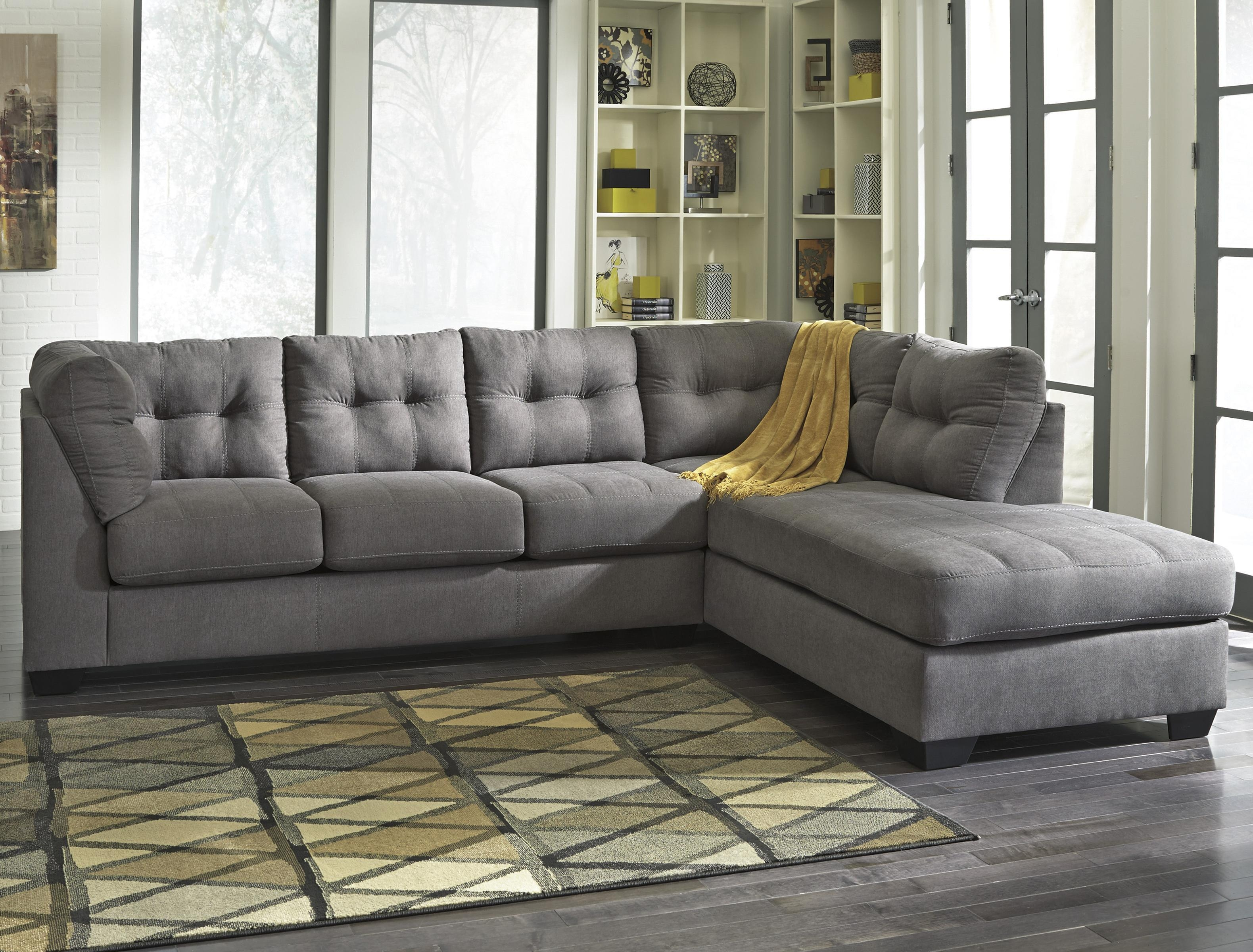 Benchcraft Maier – Charcoal 2 Piece Sectional With Right Chaise Pertaining To Sectional Sofa With 2 Chaises (Image 7 of 20)