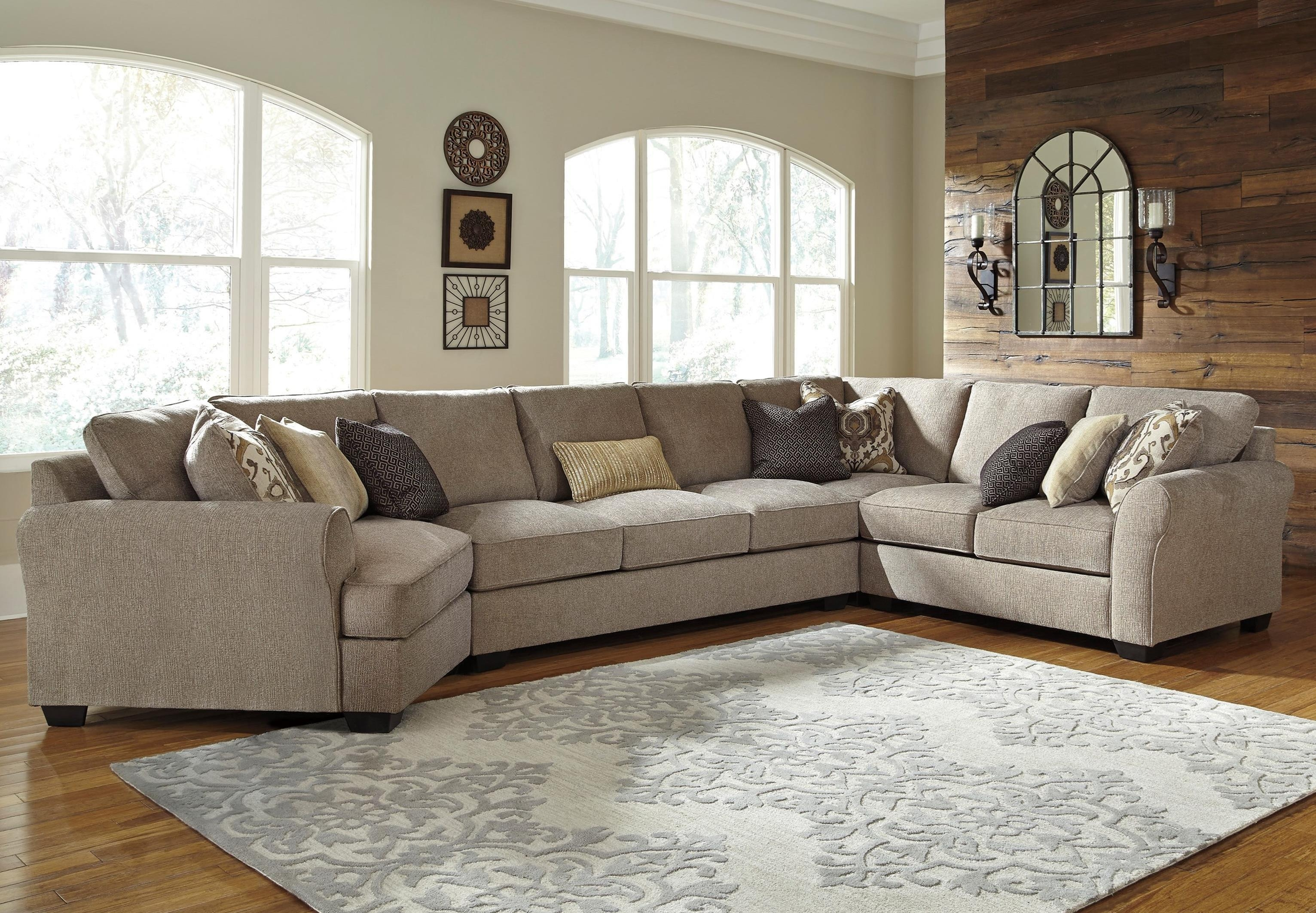 Benchcraft Pantomine 4 Piece Sectional With Left Cuddler & Armless With Sectional Cuddler (Image 3 of 20)