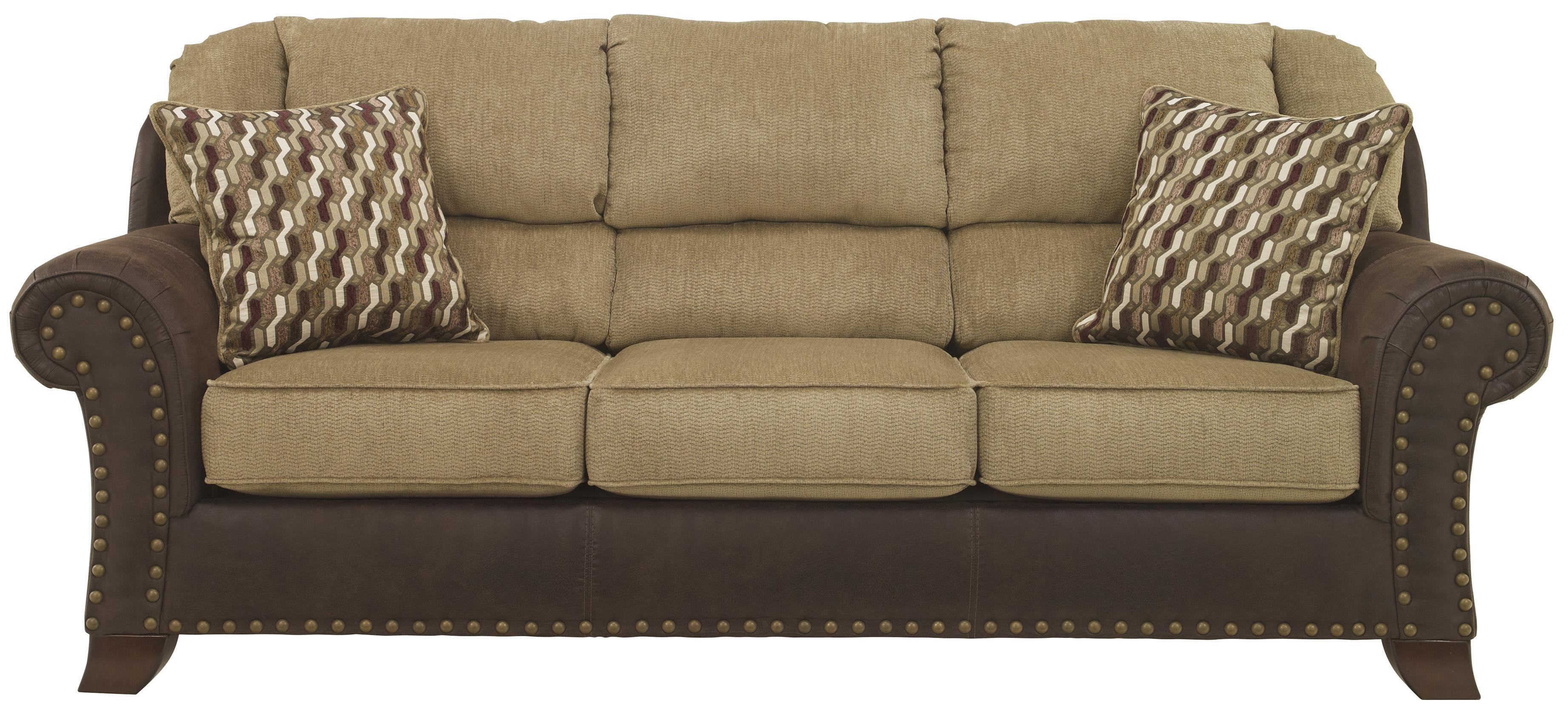 Benchcraft Vandive Two Tone Sofa With Chenille Fabric/faux Leather Regarding Two Tone Sofas (Image 4 of 20)