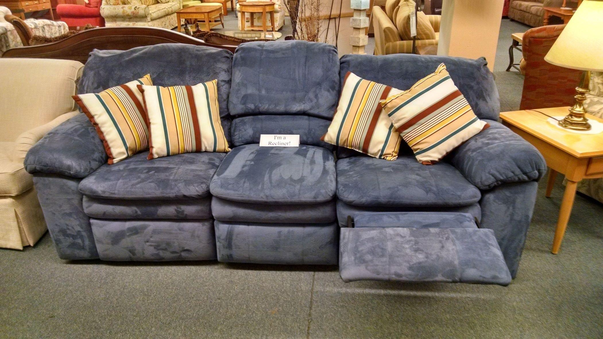 Berkline Blue Reclining Sofa | Delmarva Furniture Consignment Intended For Berkline Reclining Sofas (Image 1 of 20)