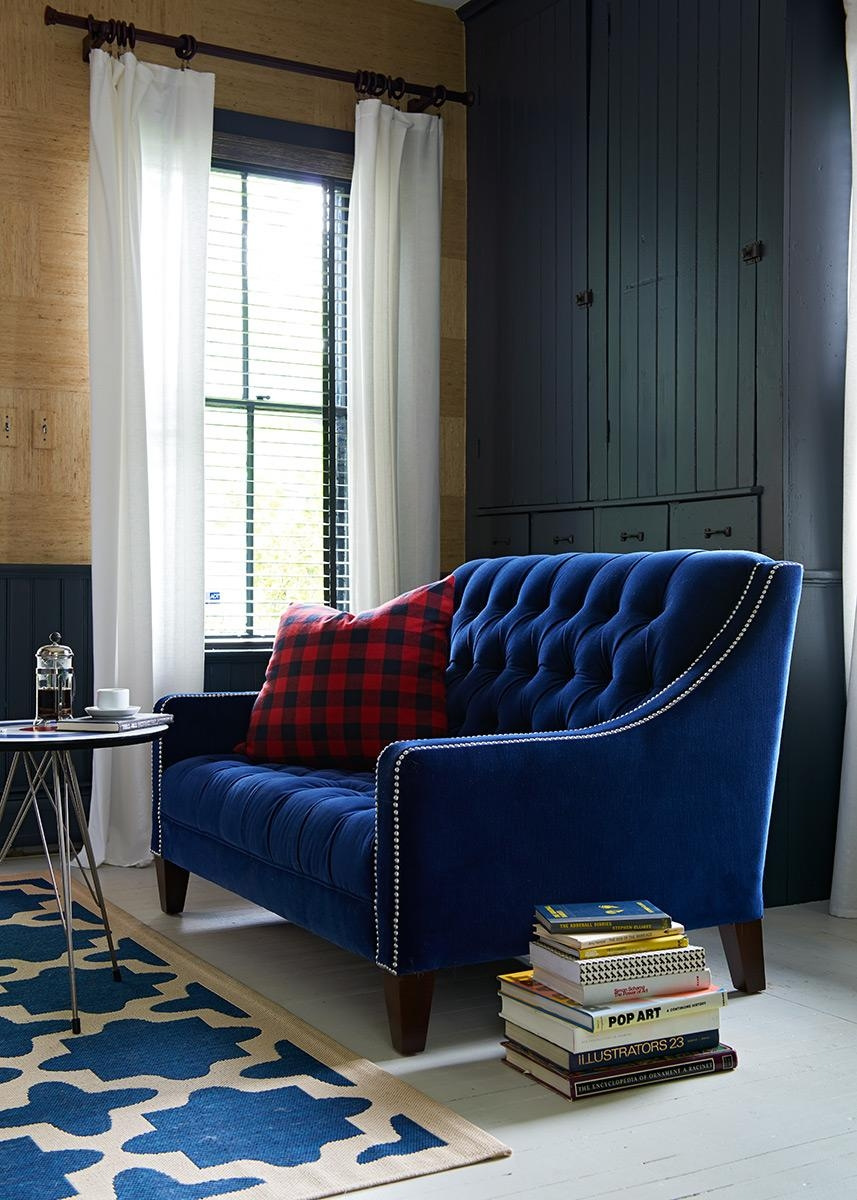 Best Blue Velvet Sofas | Blog | Roger + Chris Pertaining To Blue Velvet Tufted Sofas (Image 3 of 20)