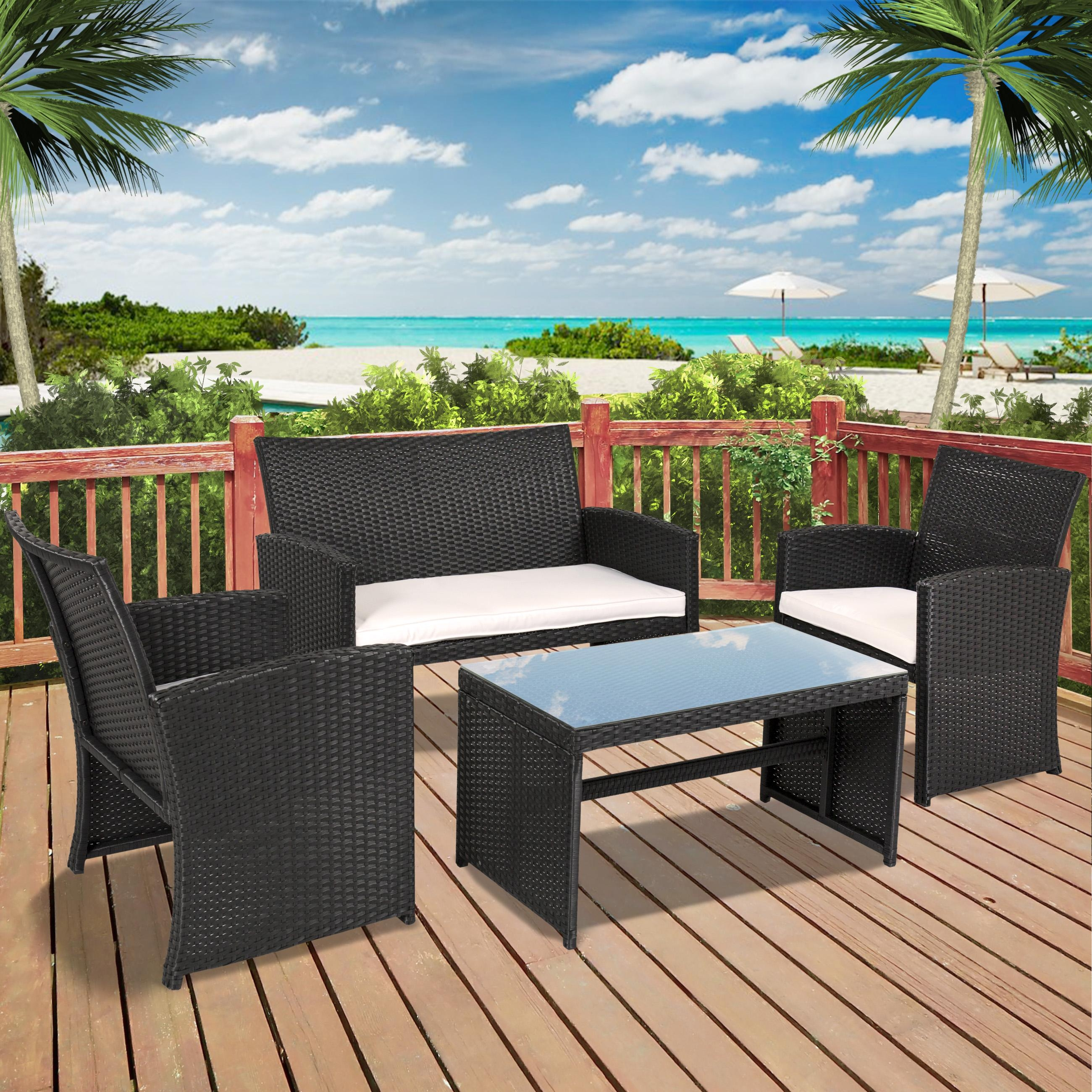 Best Choice Products Outdoor Garden Patio 4Pc Cushioned Seat Black Regarding Black Wicker Sofas (View 17 of 20)