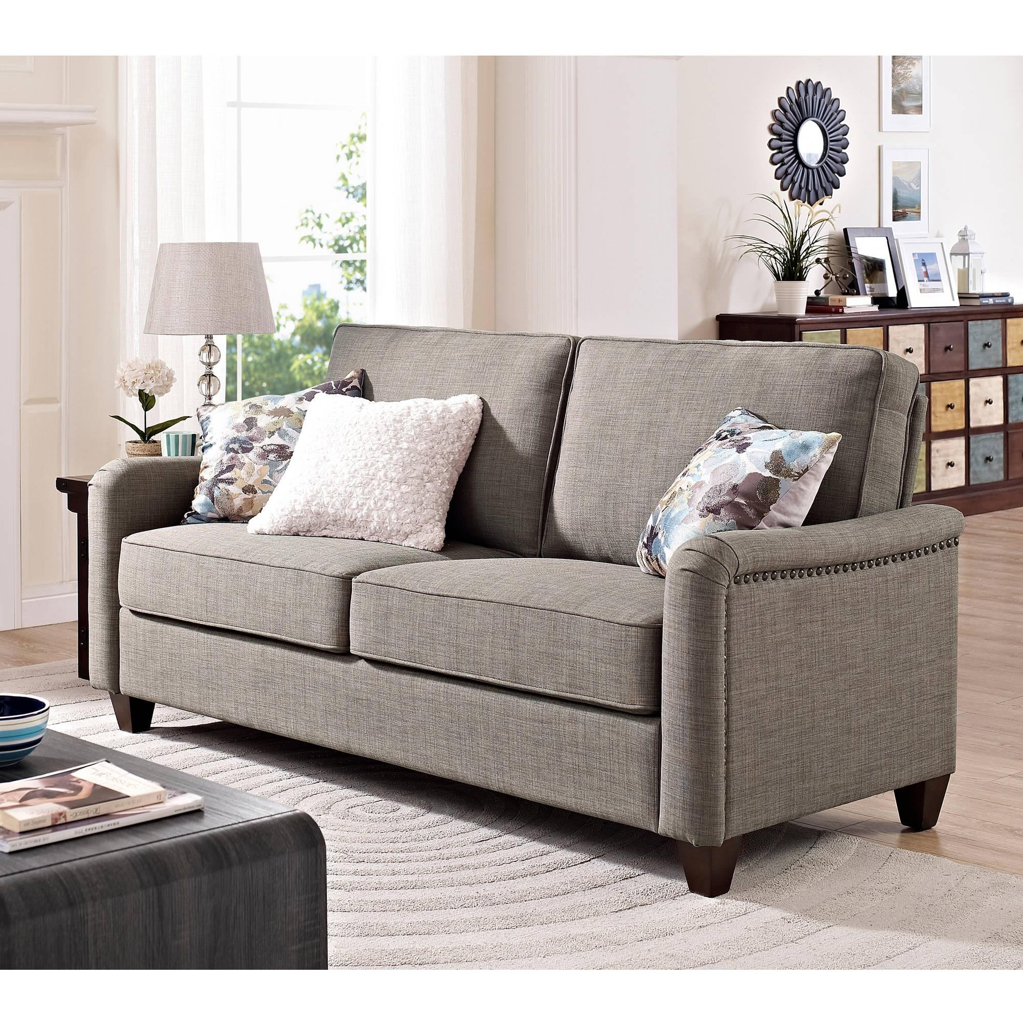 Better Homes And Gardens Grayson Sofa With Nailheads, Grey Within Wallmart Sofa (Image 6 of 20)