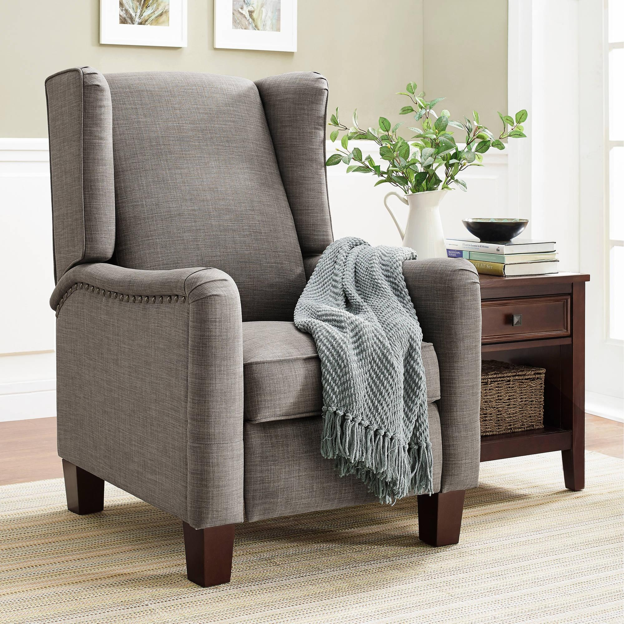 Better Homes And Gardens Grayson Wingback Pushback Recliner With Regard To Sofa Chair Recliner (View 17 of 20)