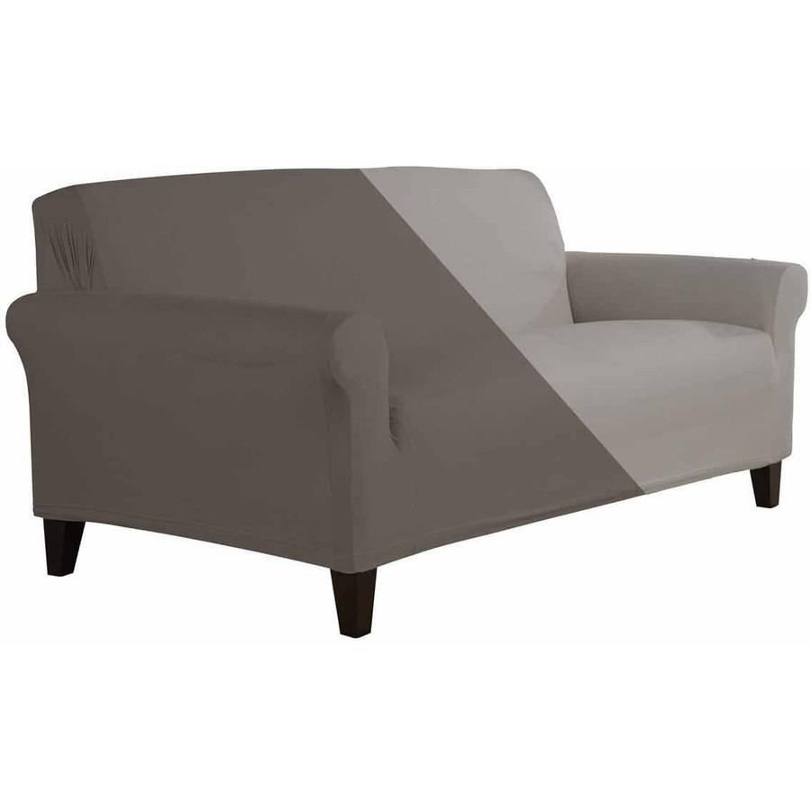 Better Homes And Gardens Stretch Suede Sofa Slipcover – Walmart With Regard To Suede Slipcovers For Sofas (Image 2 of 20)