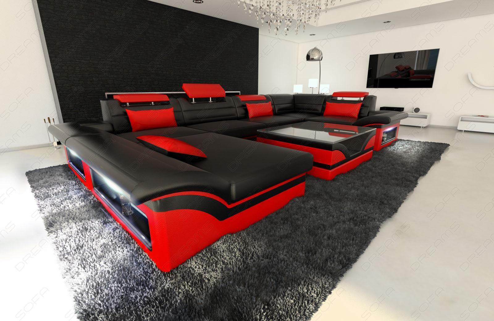 Big Leather Sofa Enzo With Led Lights Black Red | Ebay With Black And Red Sofas (Image 5 of 20)