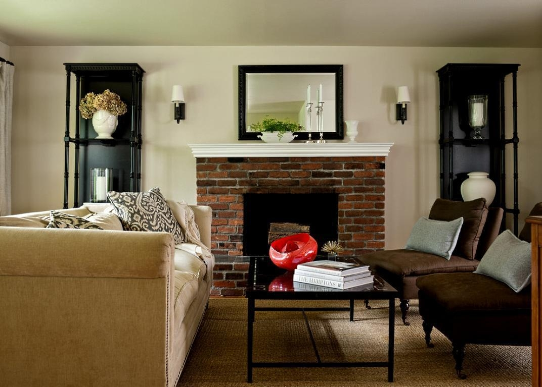Big Sofa And Brown Classic Chairs Infront Of A Brick Fireplace With Big Sofa Chairs (Image 6 of 20)