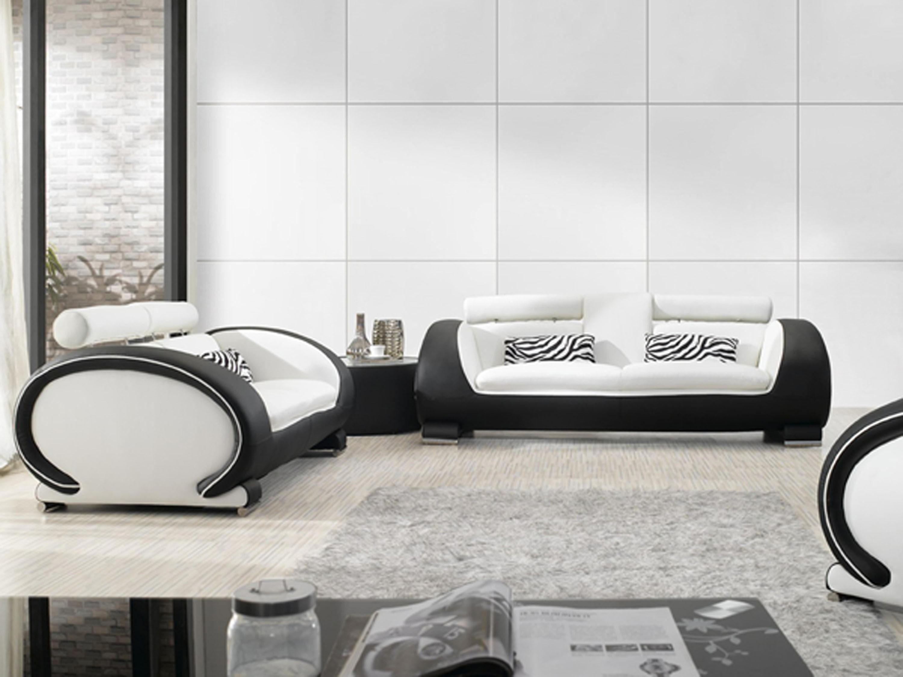 Black And White Leather Sofa Set And Modern Black White Leather For Black And White Sofas And Loveseats (Image 2 of 20)