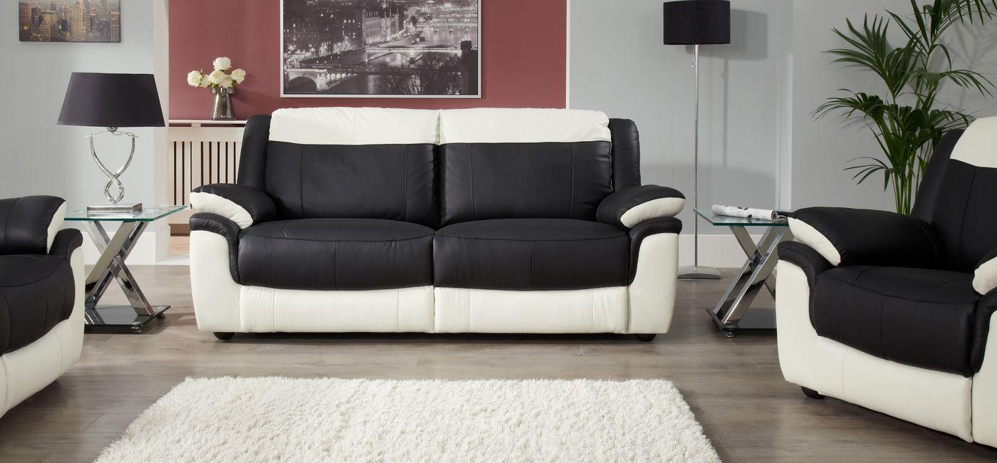Black And White Leather Sofa With Inspiration Image 10357 Regarding Black And White Leather Sofas (Image 8 of 20)