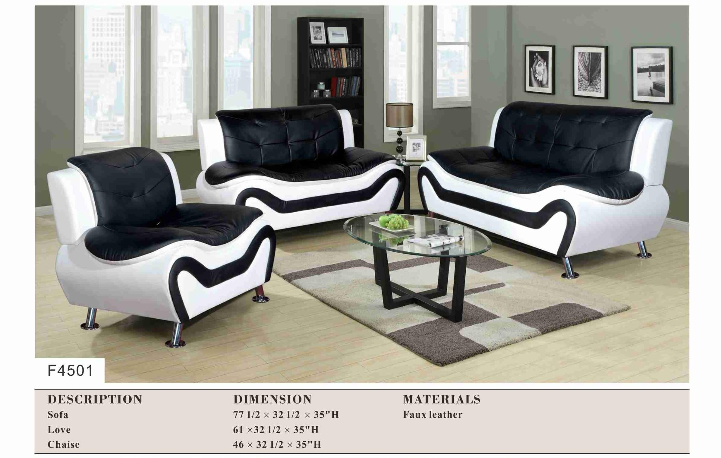 Black And White Modern 3Pc Sofa Set – Living Room With Black Modern Couches (Image 3 of 20)