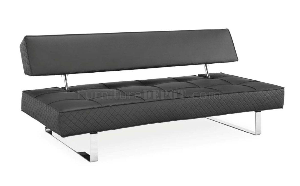 Black Bonded Leather Modern Sofa Bed W/chrome Legs For Black Modern Couches (Image 4 of 20)