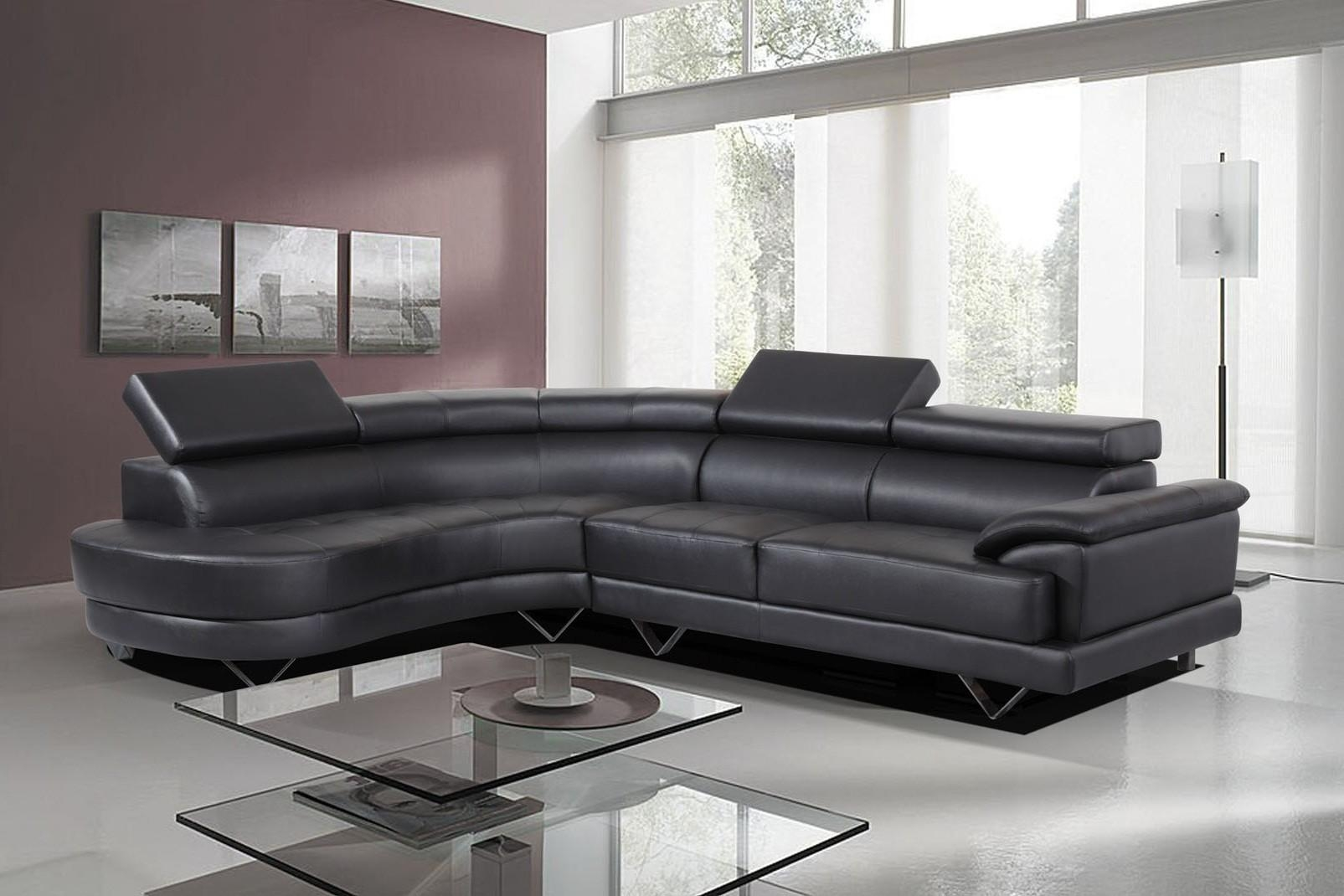 Black Bonded Leather Sofa | Sofa Gallery | Kengire Throughout Bonded Leather Sofas (Image 5 of 20)
