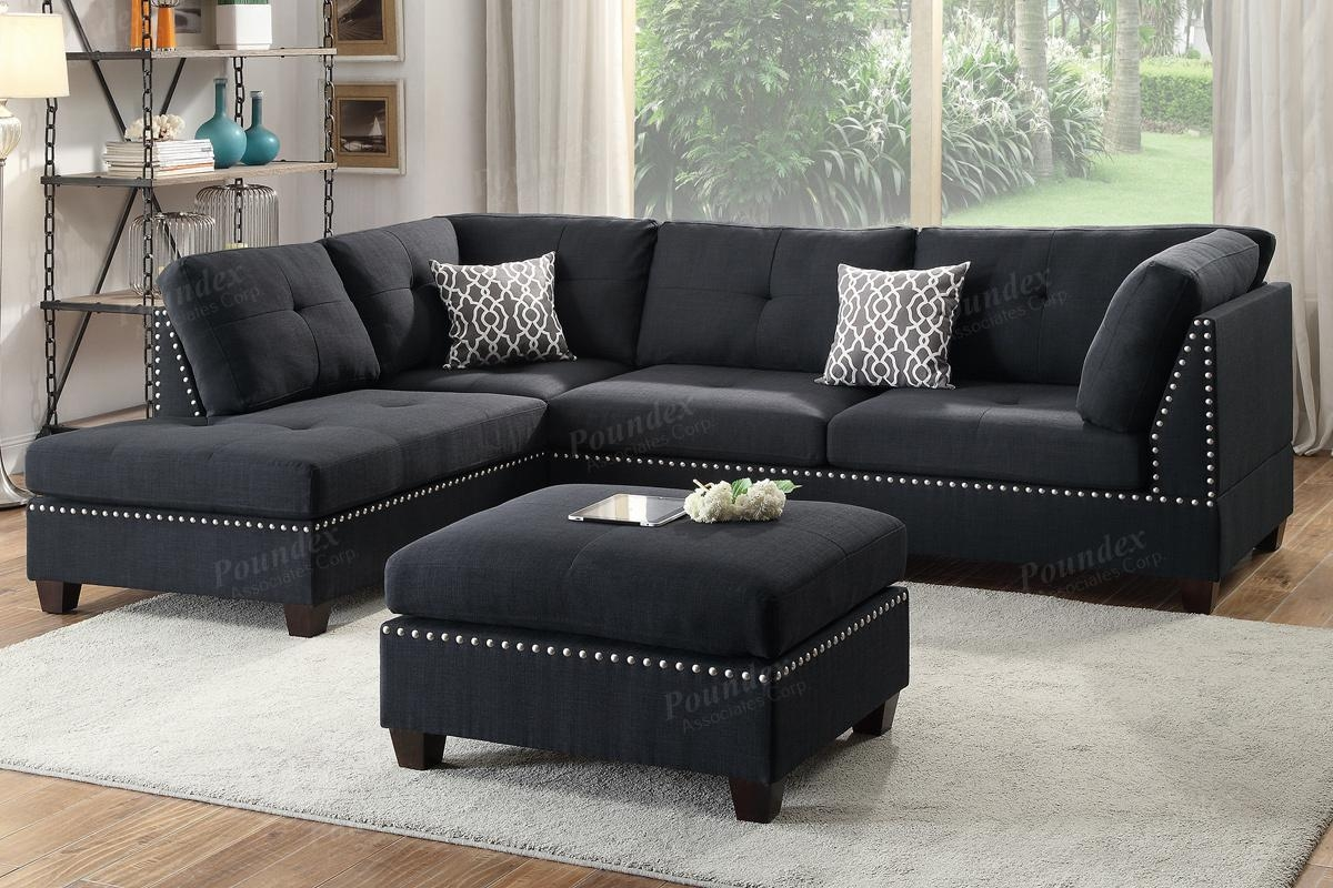 Black Fabric Sectional Sofa And Ottoman – Steal A Sofa Furniture With Black Fabric Sectional (Image 5 of 15)