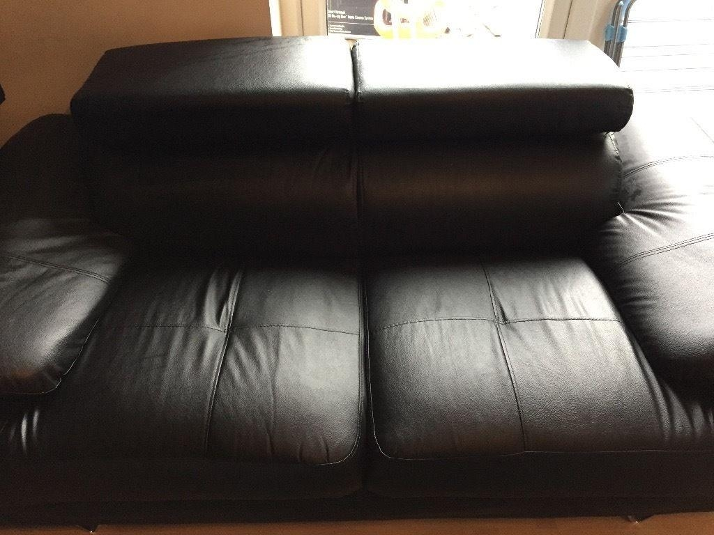 Black Faux Leather 2 And 3 Seater Sofas With Chrome Legs | In For Sofas With Chrome Legs (Image 7 of 20)