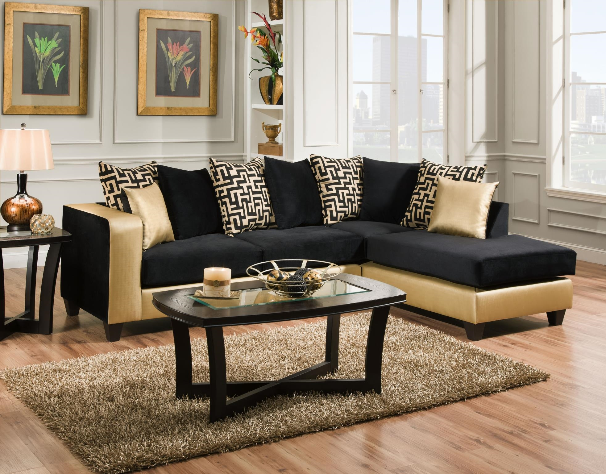 Black Gold Loose Pillow Sectional With Regard To Gold Sectional Sofa (Image 3 of 15)
