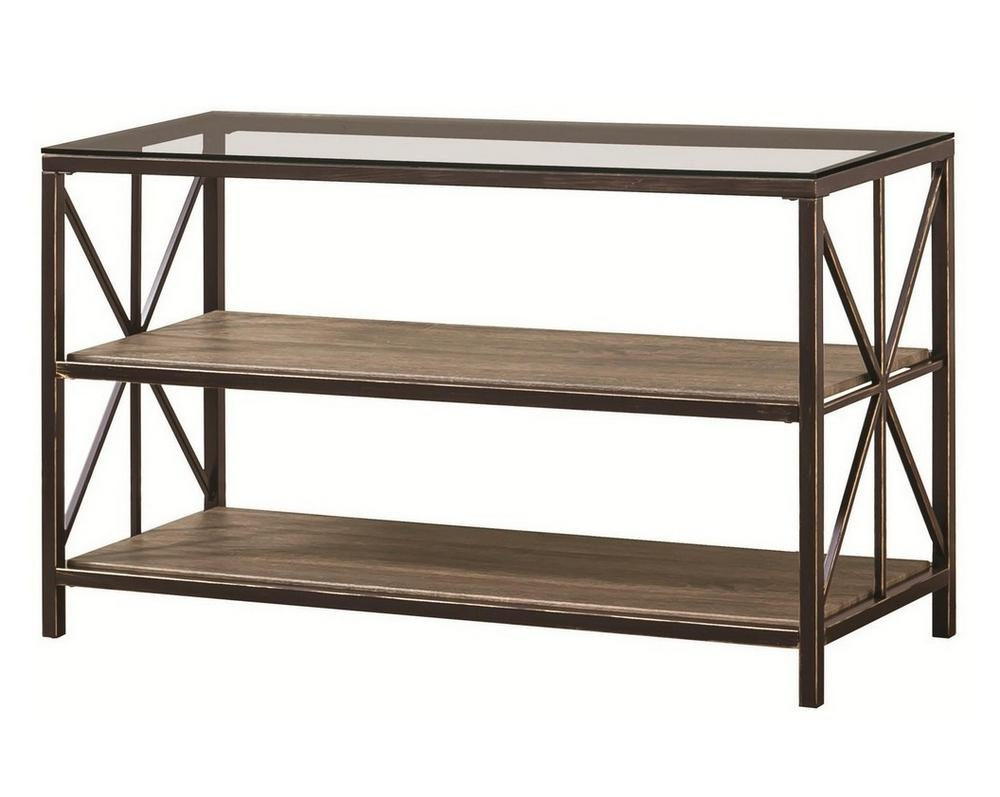 Black Gold Metal & Glass Sofa Table W/wood Shelvescoaster Regarding Gold Sofa Tables (Image 5 of 20)