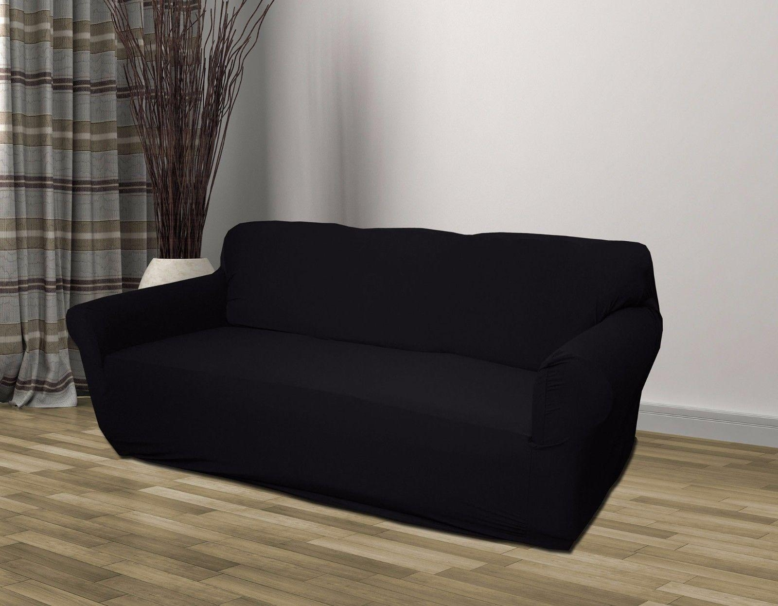 Black Jersey Sofa Stretch Slipcover, Couch Cover, Chair Loveseat Throughout Black Slipcovers For Sofas (Image 3 of 20)
