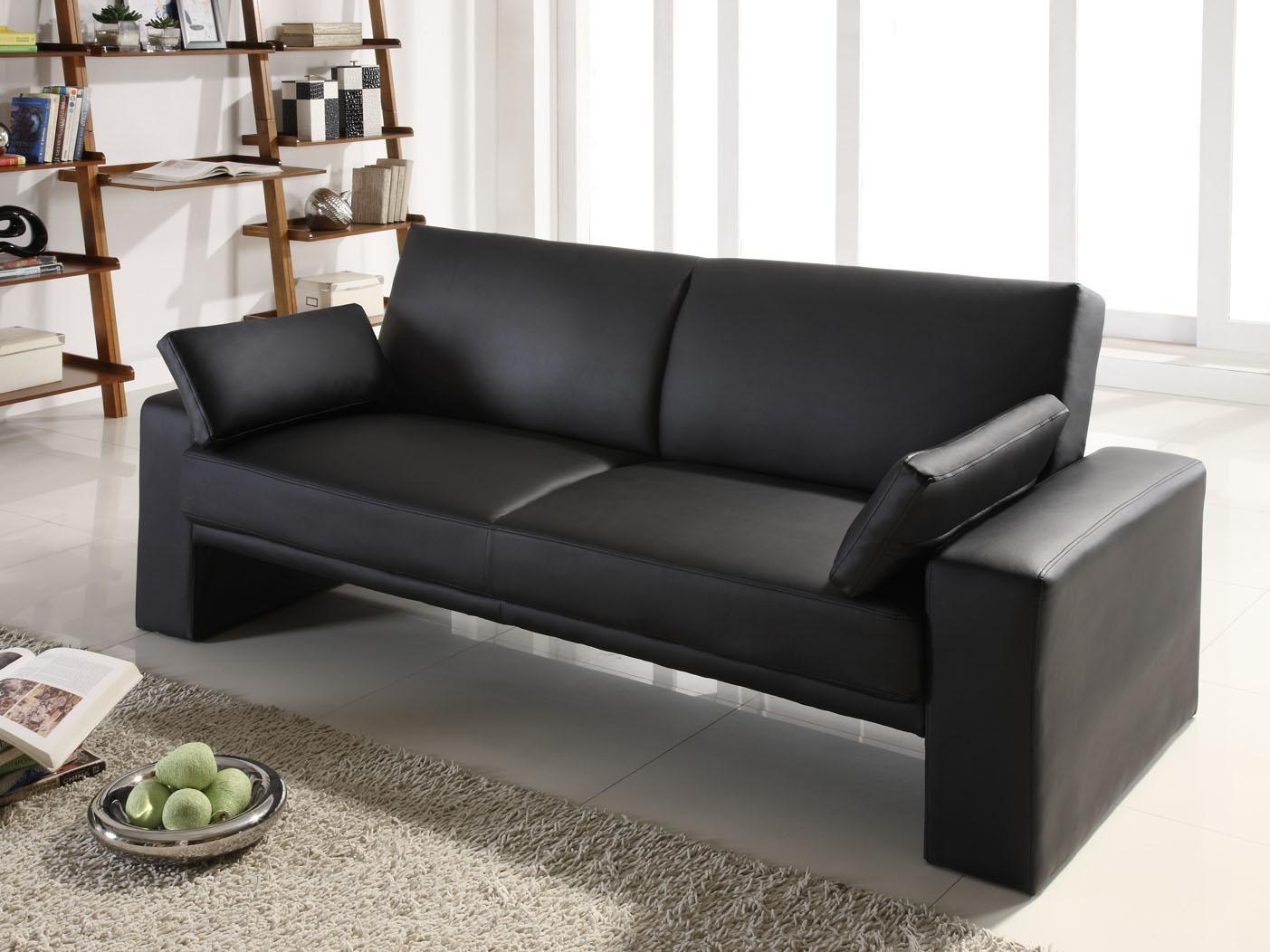 Black Leather Convertible Sofa 72 With Black Leather Convertible For Black Leather Convertible Sofas (Image 3 of 20)