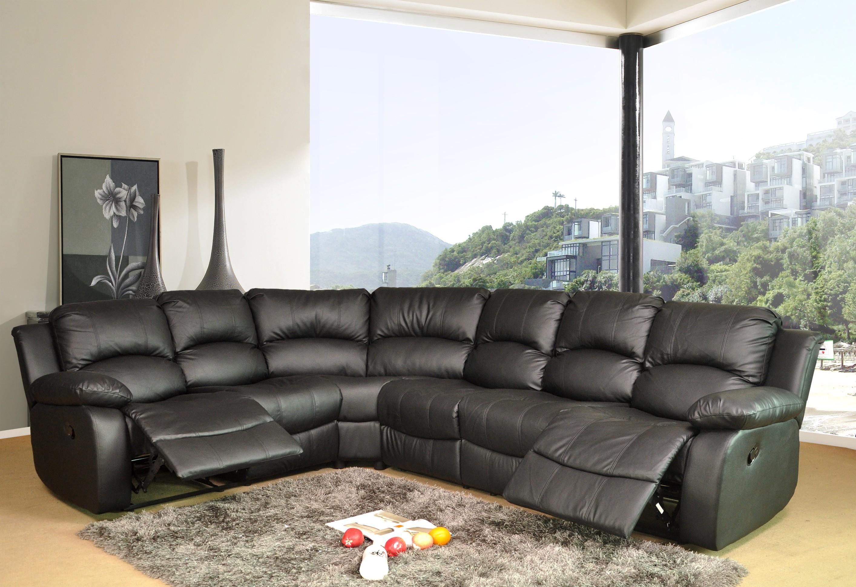 Black Leather Corner Sofa | Sofa Gallery | Kengire Inside Black Corner Sofas (Image 6 of 20)