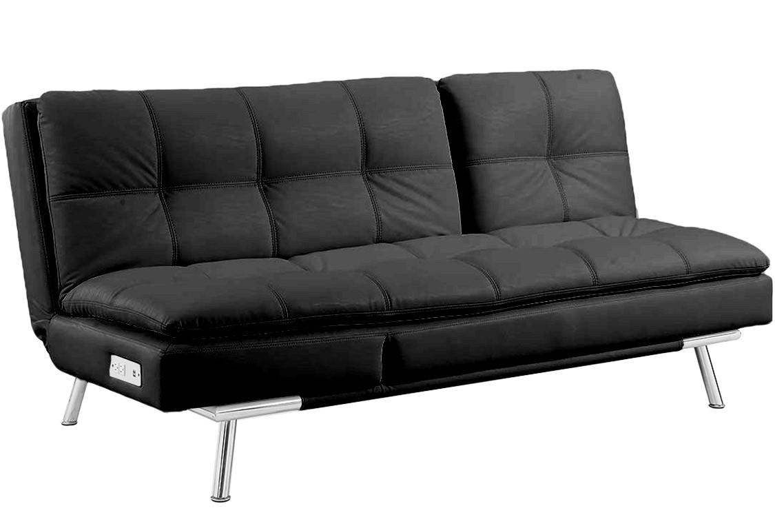 Black Leather Futon Sleeper | Palermo Serta Modern Lounger | The For Black Leather Convertible Sofas (View 7 of 20)