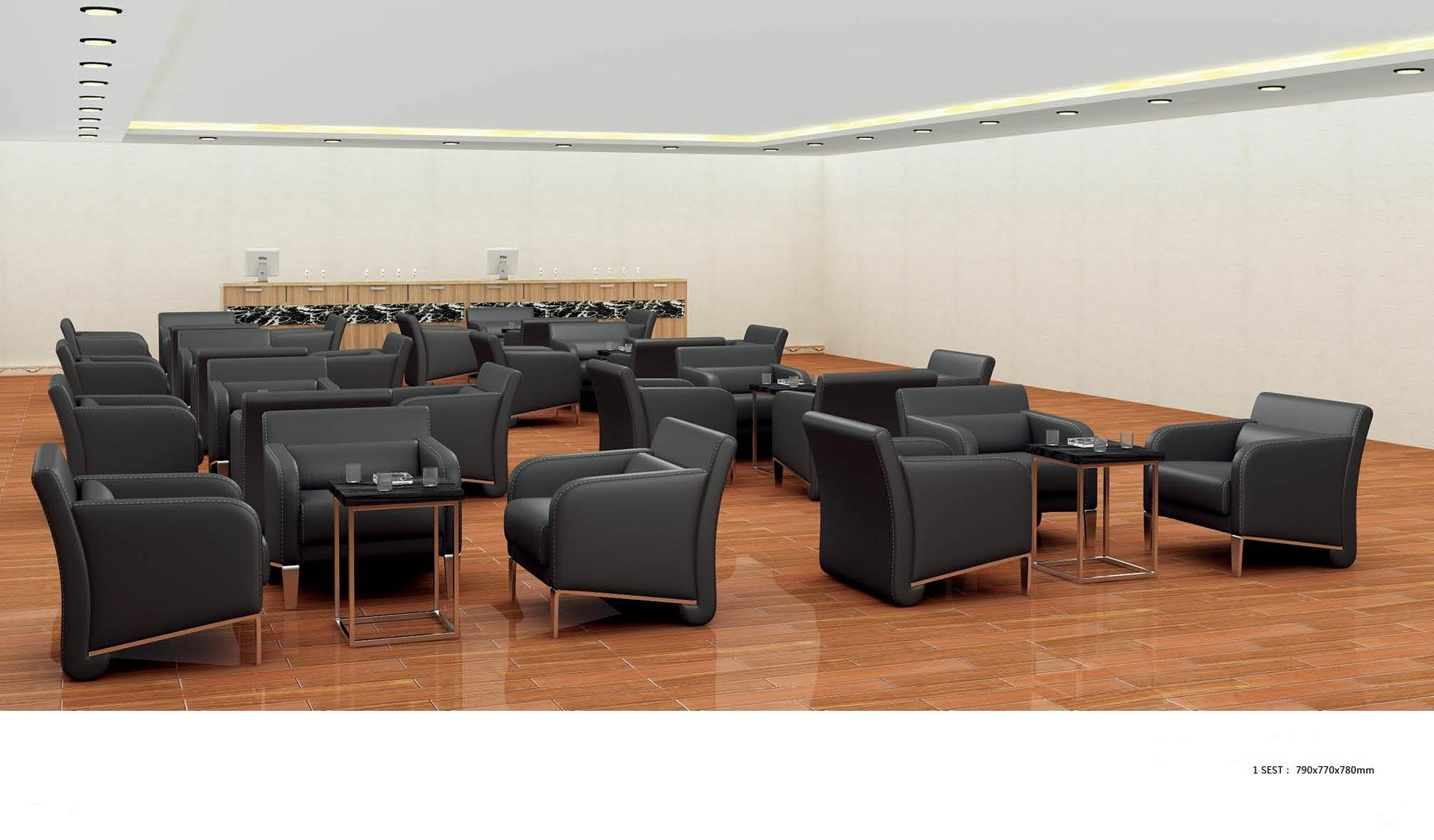 Black Leather Office Sofa Leisure Sofa Office Sofa Minimalist Regarding Small Office Sofas (View 9 of 20)