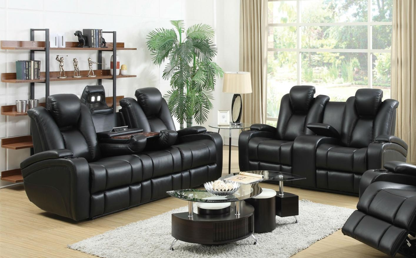 Black Leather Power Reclining Sofa And Loveseat Set – Steal A Sofa In Reclining Sofas And Loveseats Sets (Image 1 of 20)