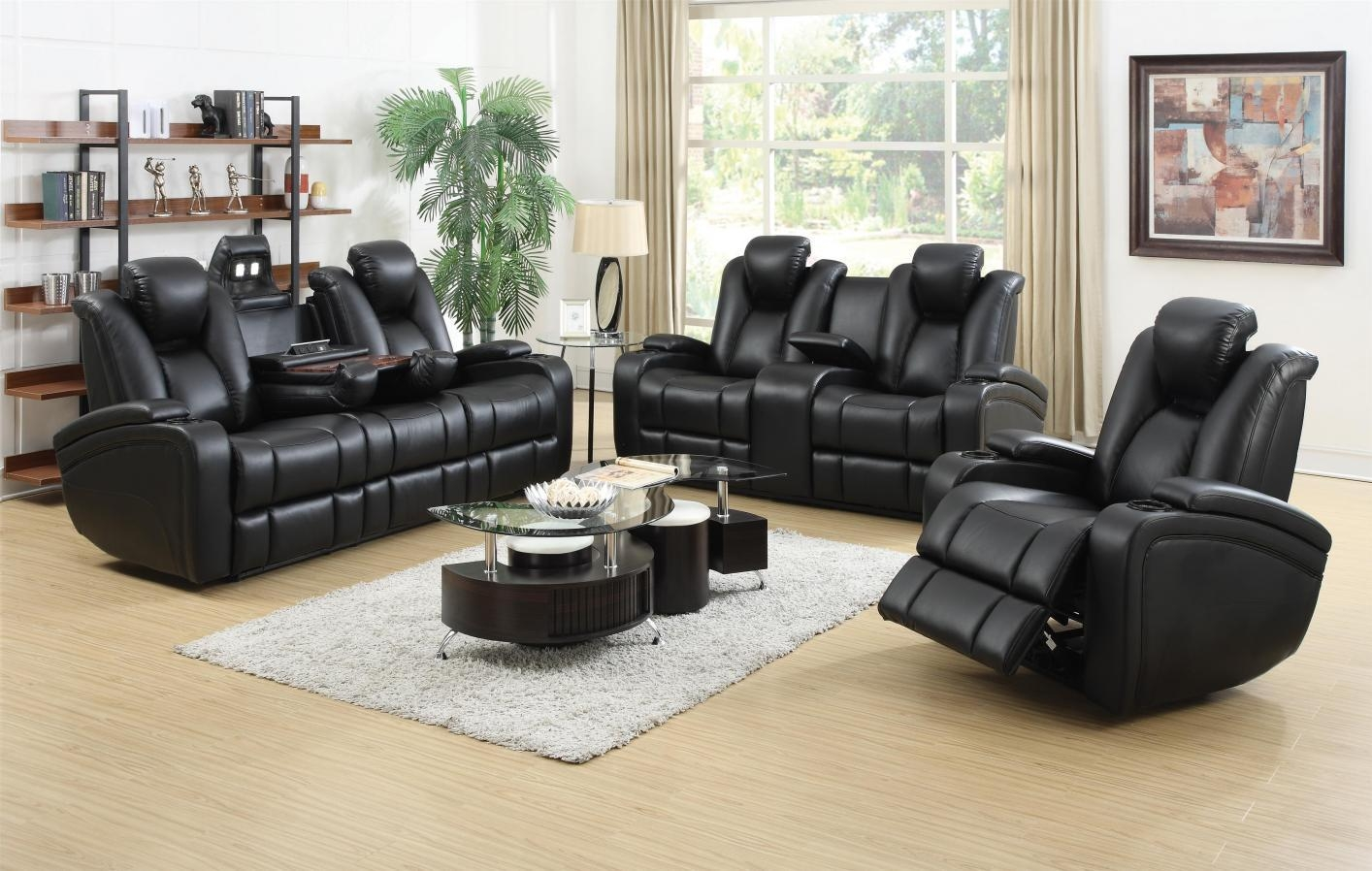 Black Leather Power Reclining Sofa And Loveseat Set – Steal A Sofa With Black Leather Sofas And Loveseat Sets (Image 2 of 20)