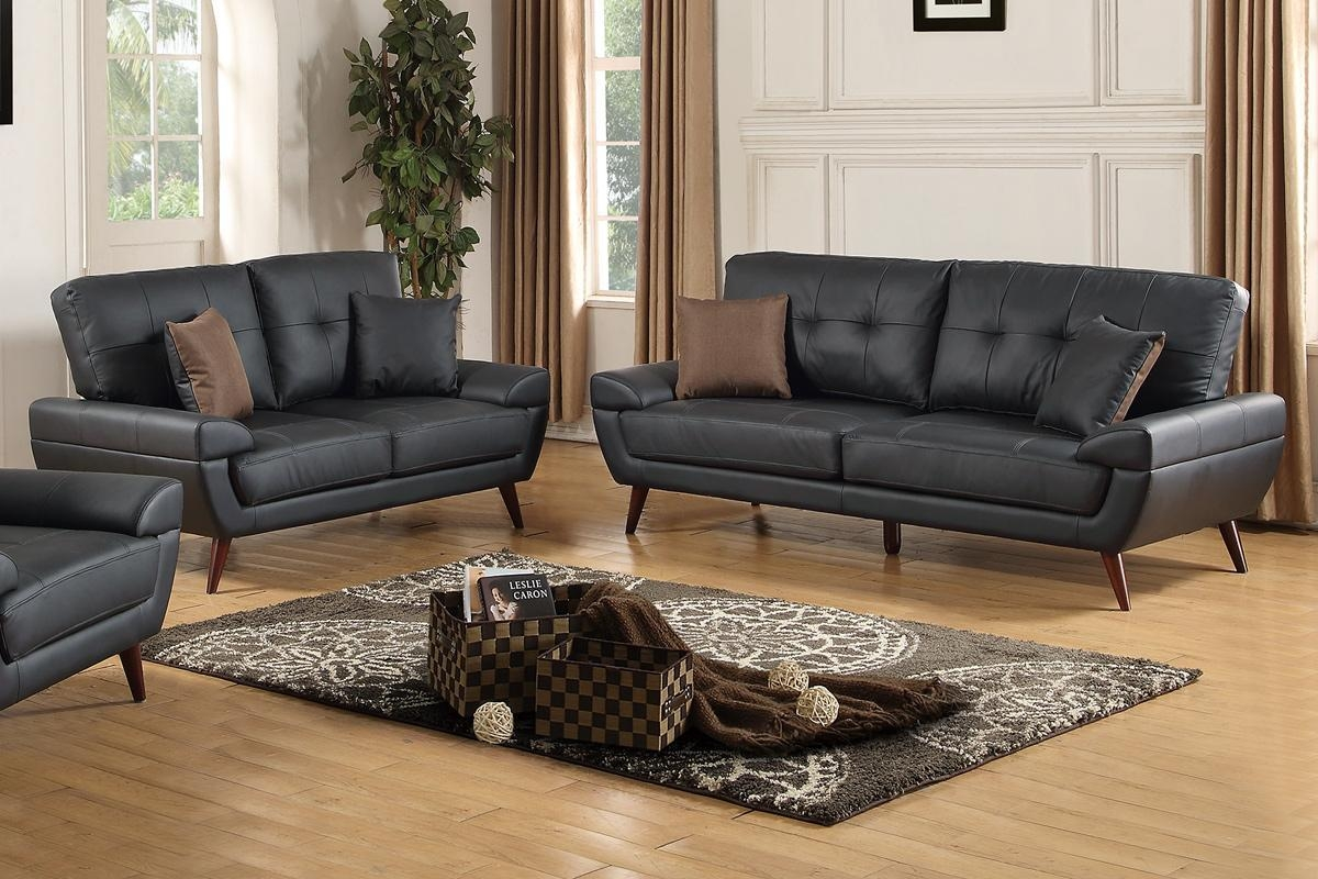 Black Leather Sofa And Loveseat Set – Steal A Sofa Furniture Intended For Black Leather Sofas And Loveseat Sets (Image 4 of 20)
