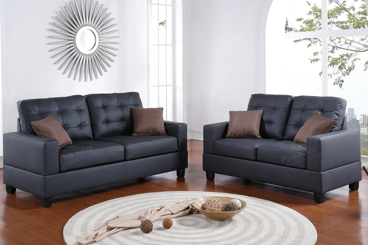 Black Leather Sofa And Loveseat Set – Steal A Sofa Furniture With Regard To Black Leather Sofas And Loveseats (Image 7 of 20)